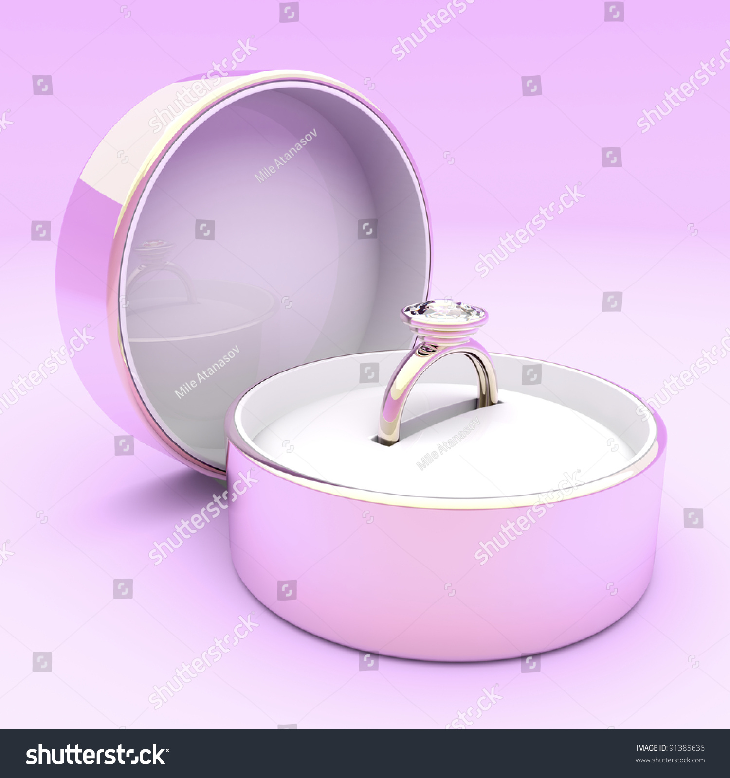 Pink Gold Diamond Ring Box On Stock Illustration 91385636 - Shutterstock