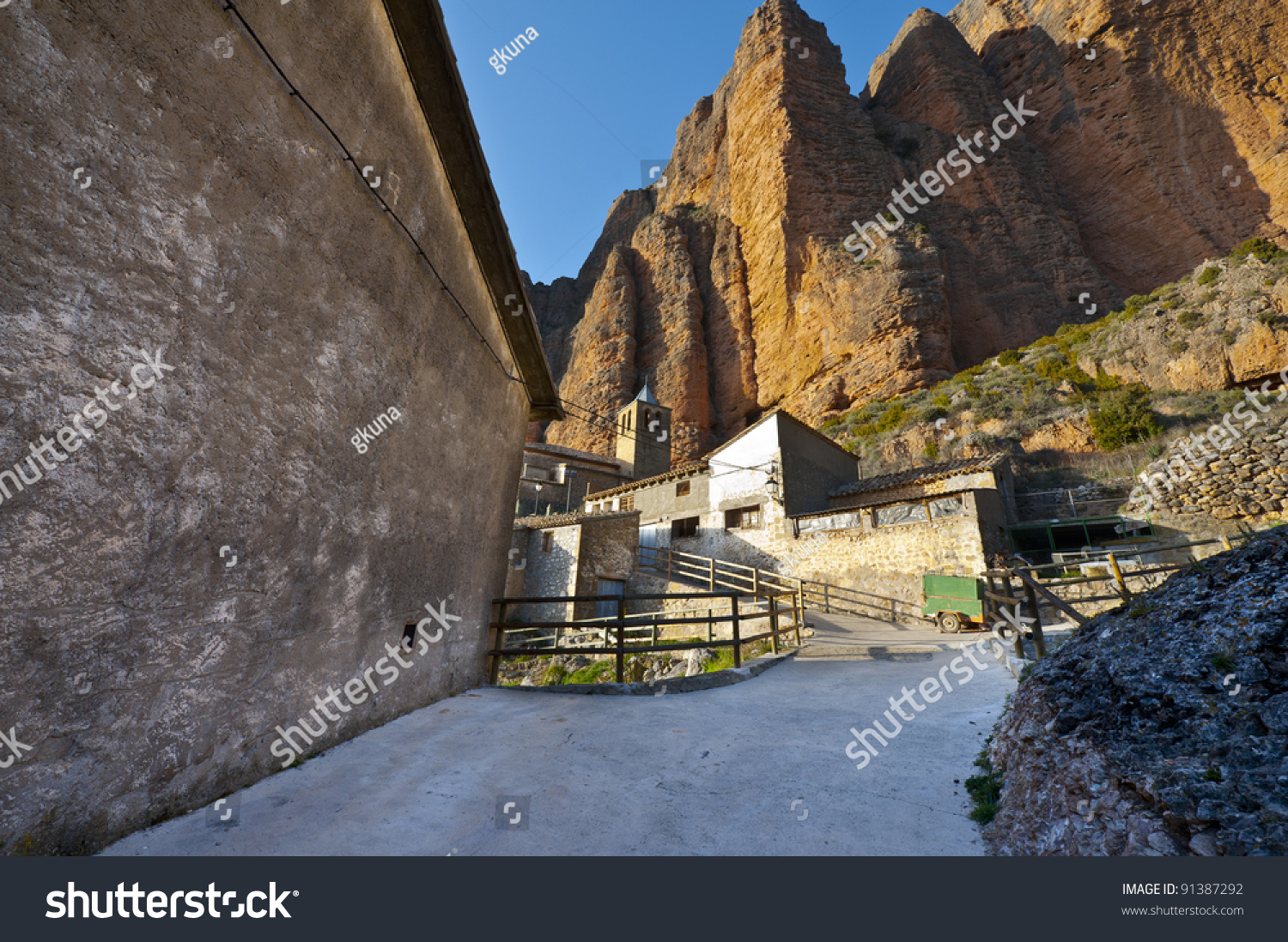 Rocks In Spanish Part - 16: Spanish Medieval Church At The Foot Of The Rocks In The Pyrenees