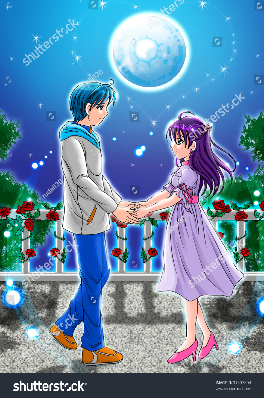 Cartoon illustration of a couple holding hands under the moonlight
