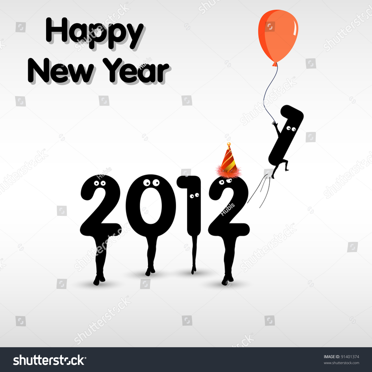 Funny New Year Card Concept Stock Vector (Royalty Free) 91401374 ...
