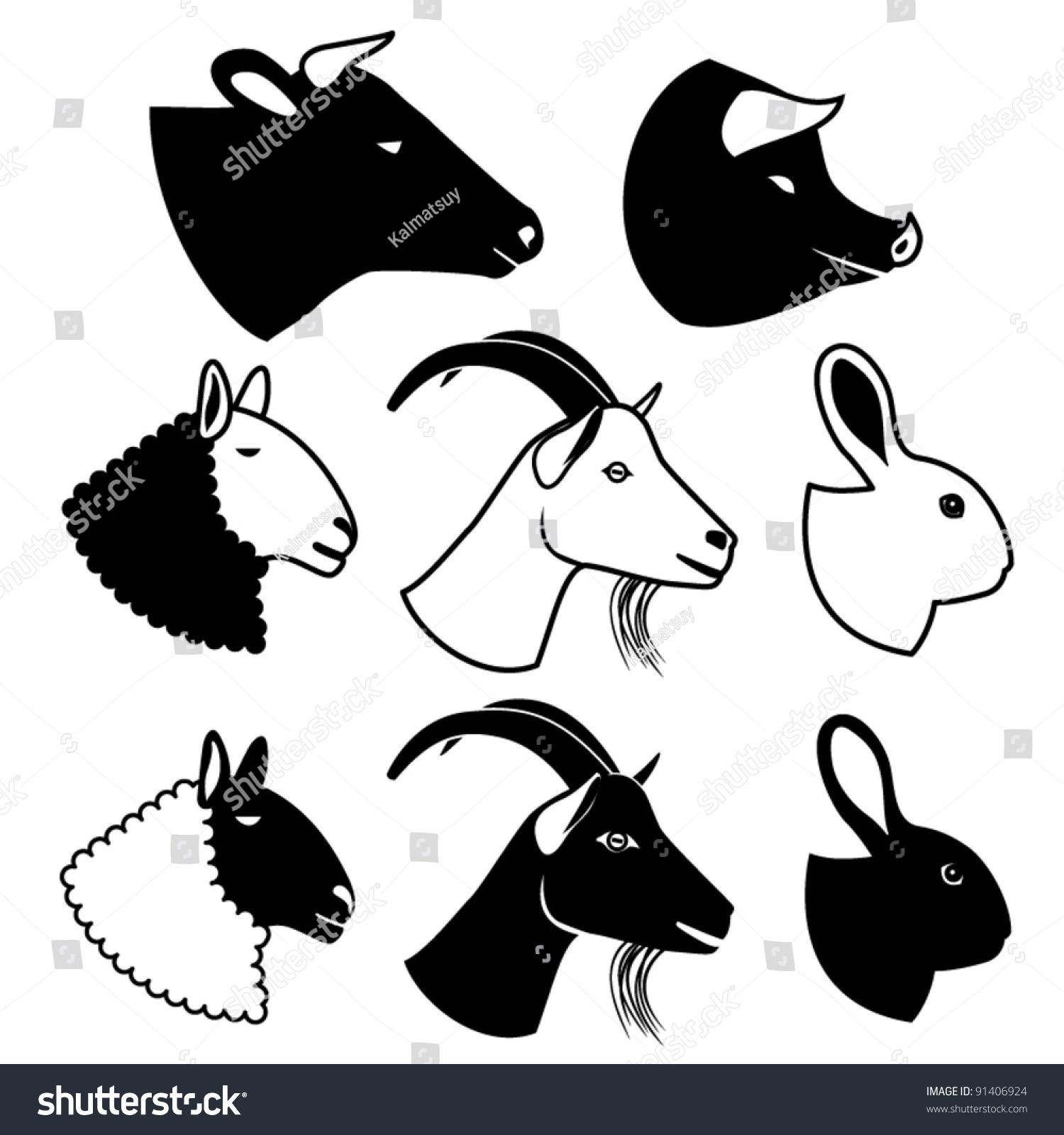Farm animal head silhouettes - photo#10