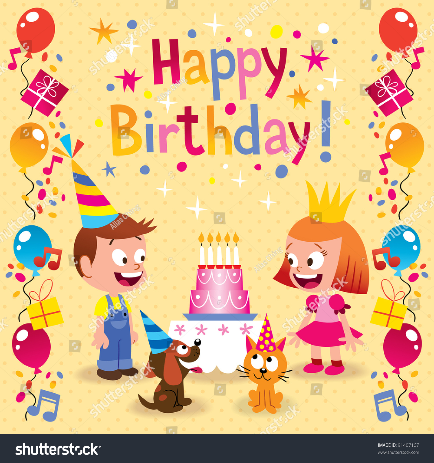 Happy Birthday Kids Card Stock Vector Shutterstock