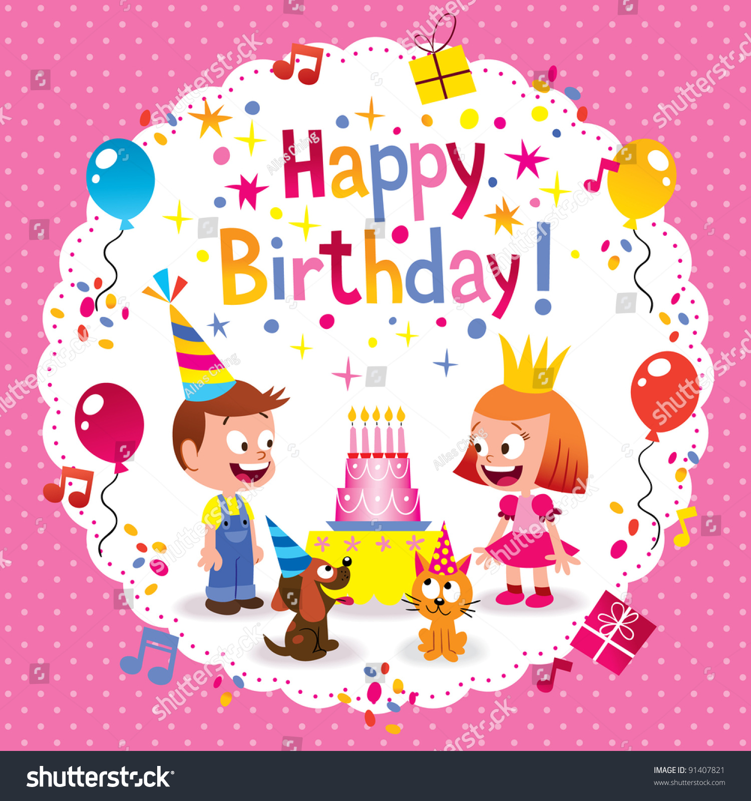 Happy Birthday Cute Kids Card Vector 91407821 Shutterstock – Cute Birthday Cards for Kids