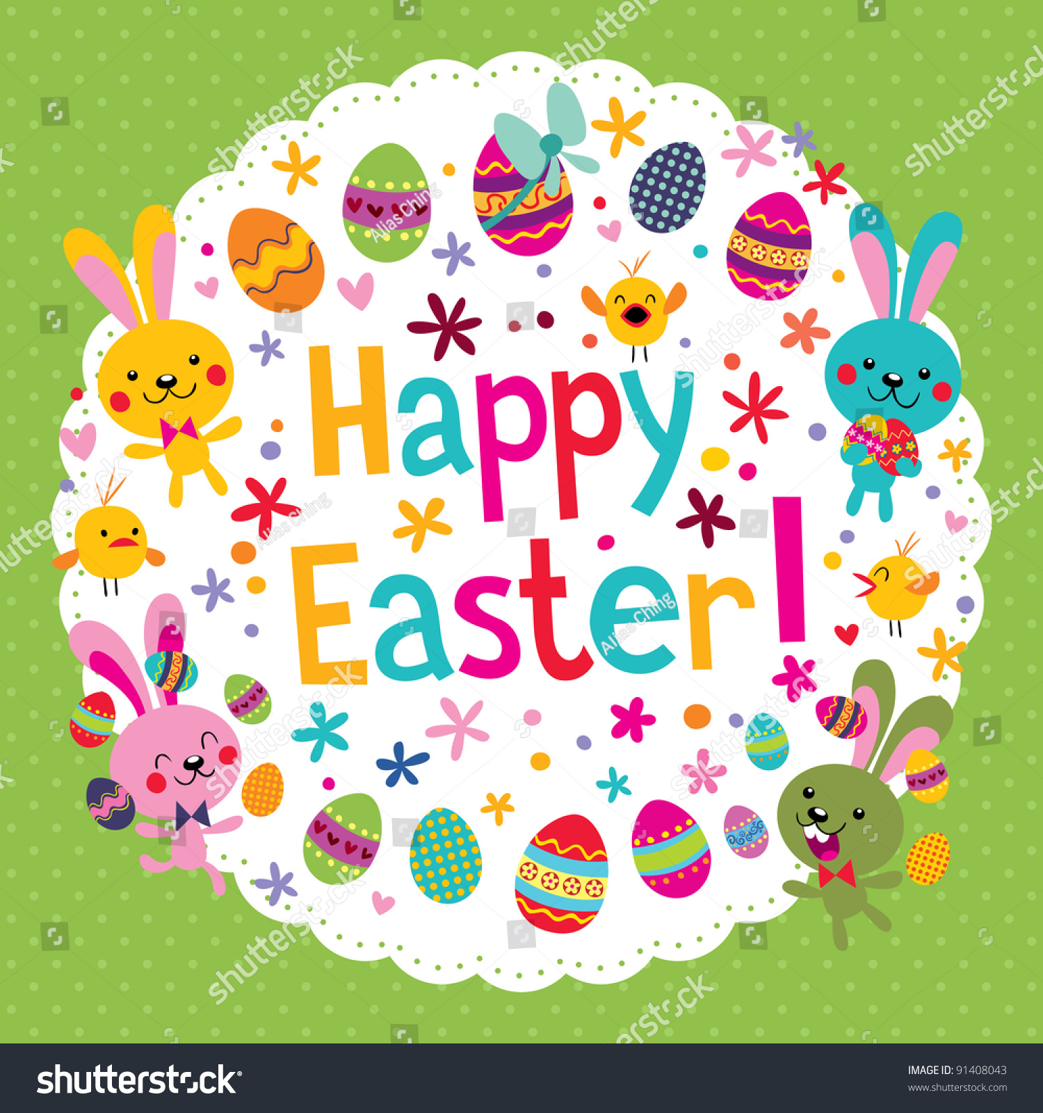 Cute Happy Easter Card Vector 91408043 Shutterstock – Happy Easter Card