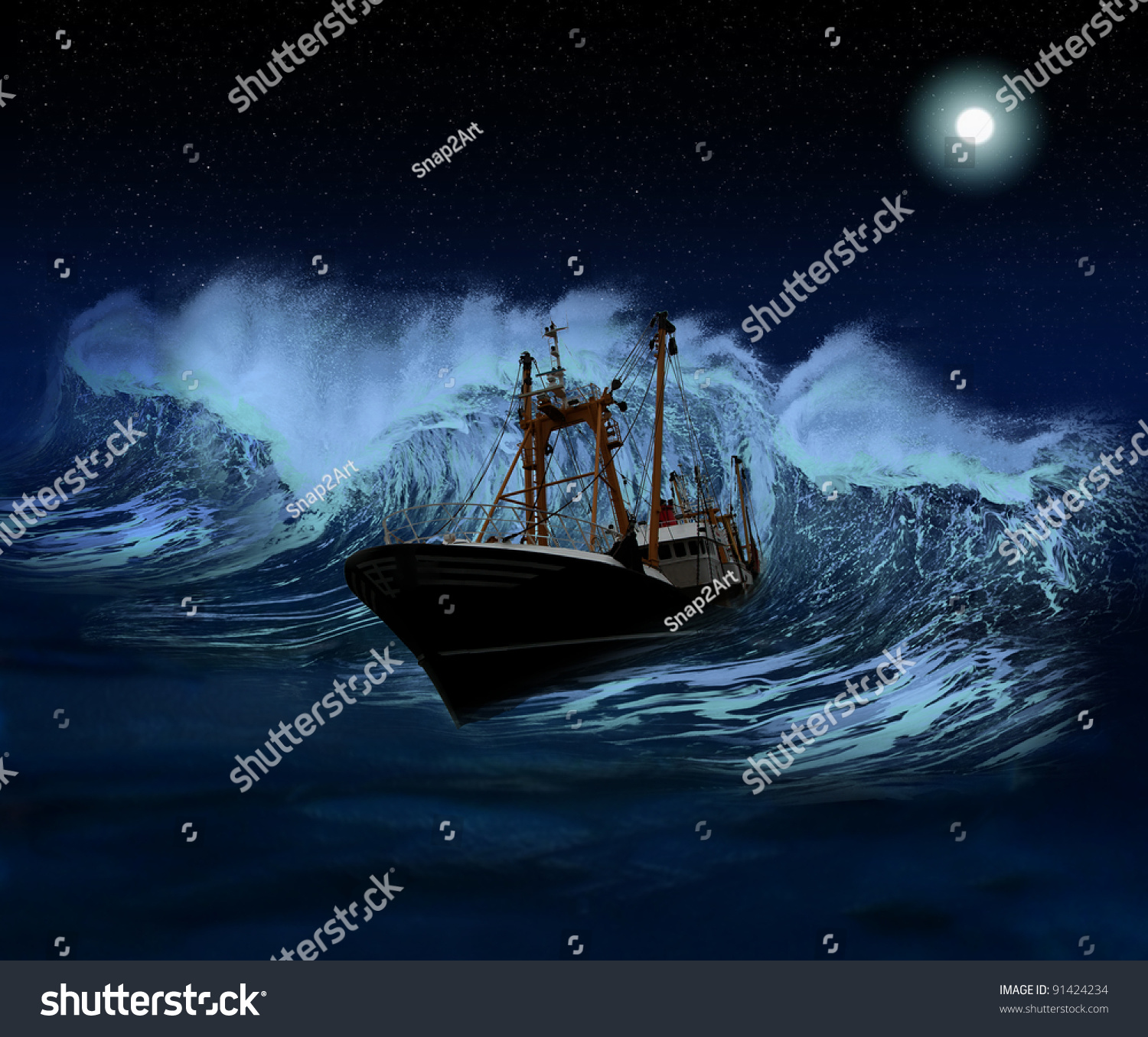 Sinking Ship Being Hit By Massive Stock Illustration 91424234 ...