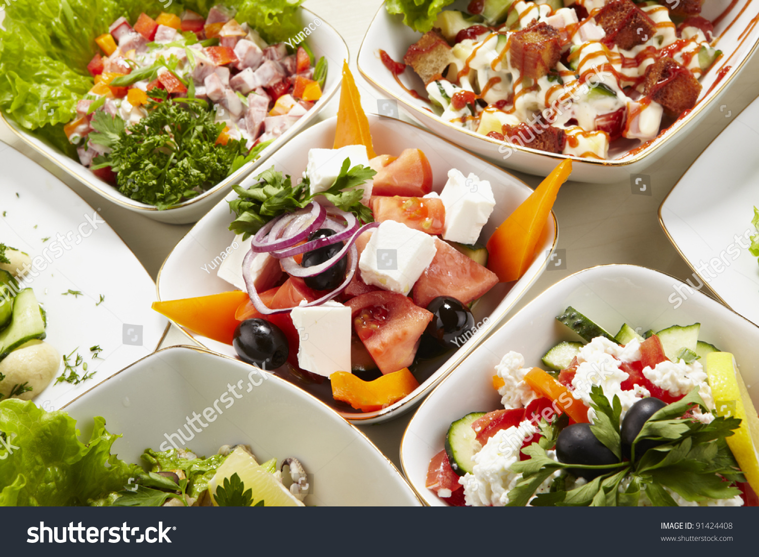 Different Types Vegetable Seafood Salads Stock Photo 91424408 ...
