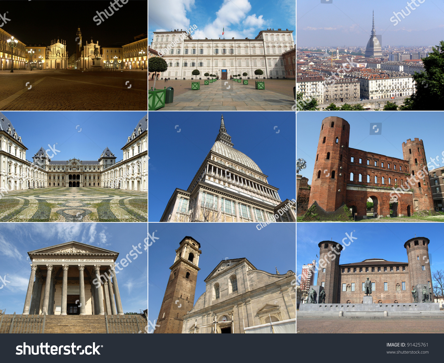 Turin famous landmarks monuments collage italy stock photo for Special landmarks