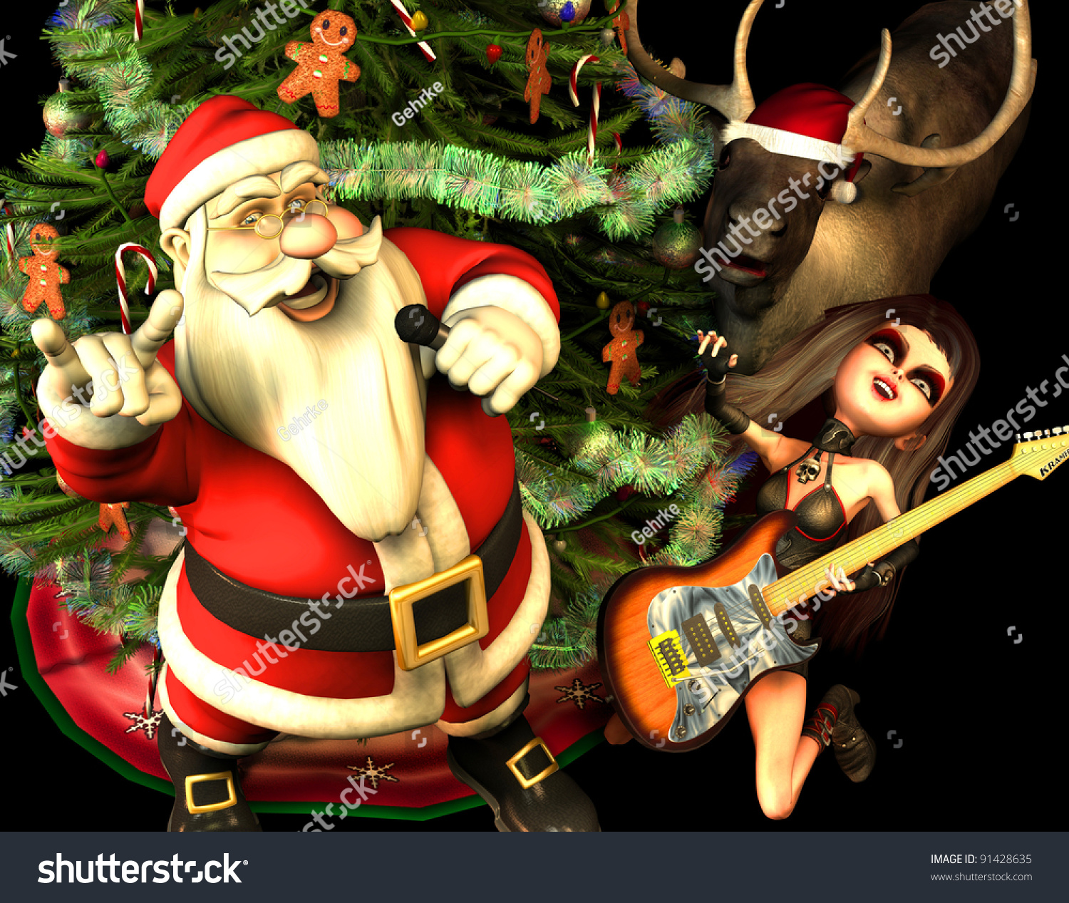 3d rendering of santa claus with heavy metal greeting with a christmas tree reindeer and guitarist - Heavy Metal Christmas
