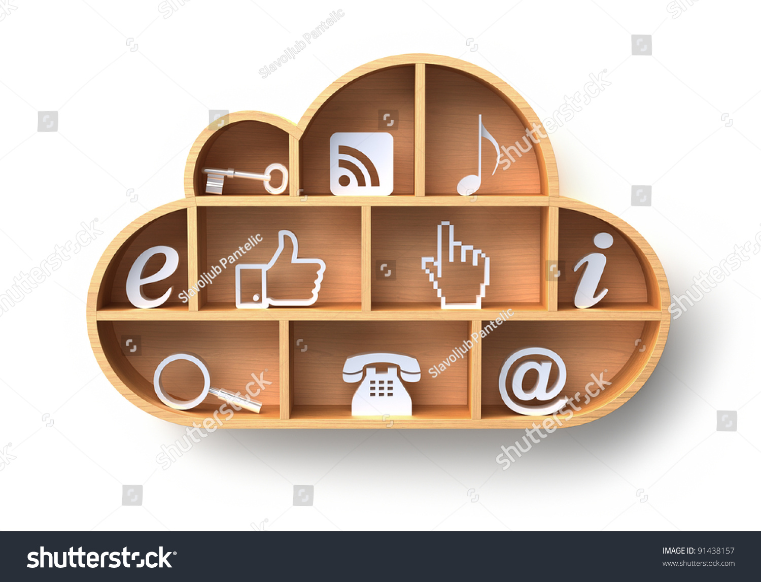 Cloud Computing Concept Wooden Shelf On Stock Illustration ...