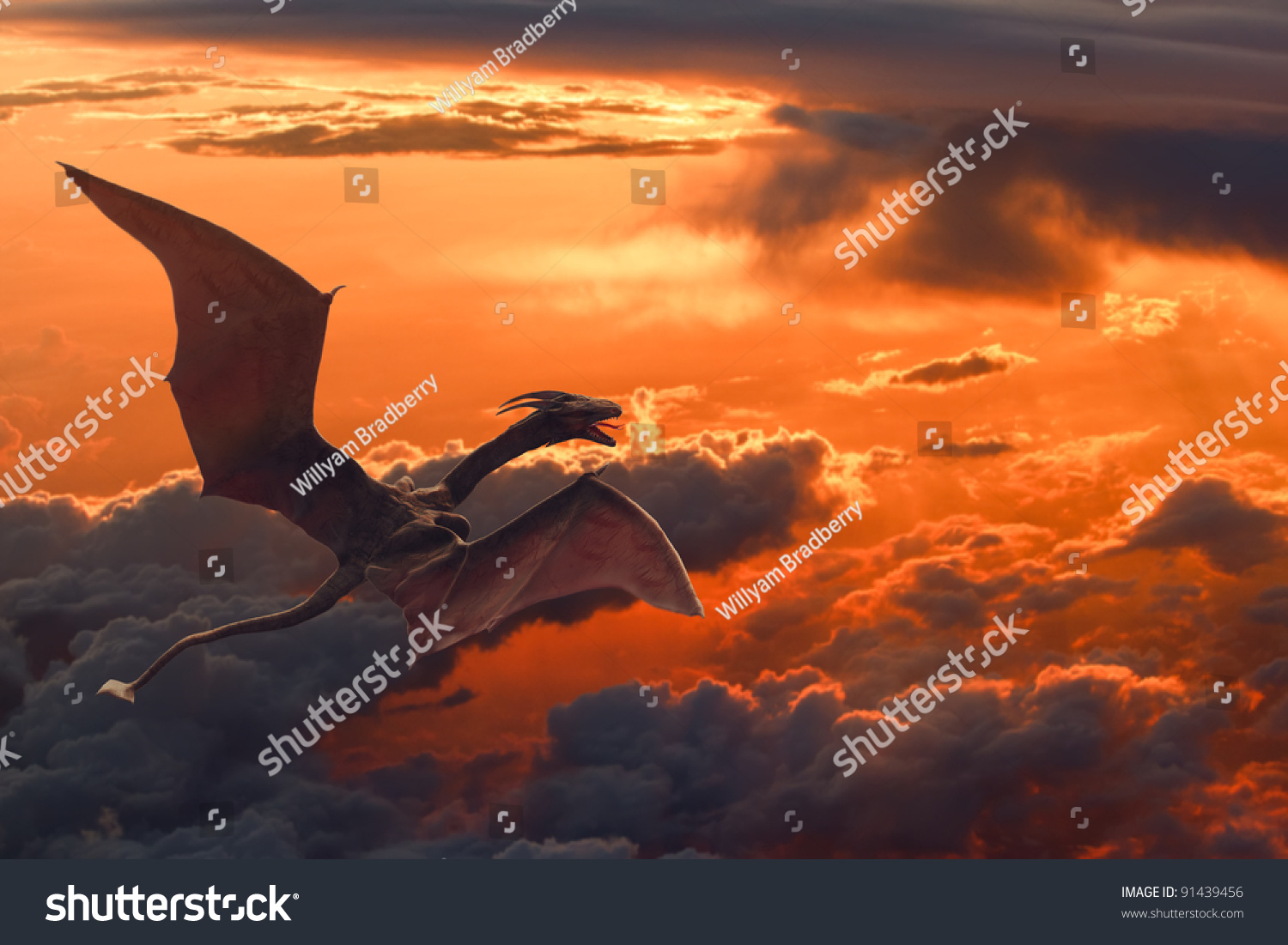 Dragon flying over orange sunset clouds stock photo 91439456
