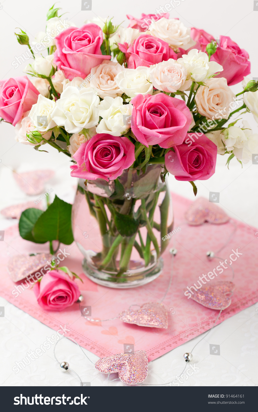 Festive Bouquet Of Pink And White Roses In Vase Stock ...