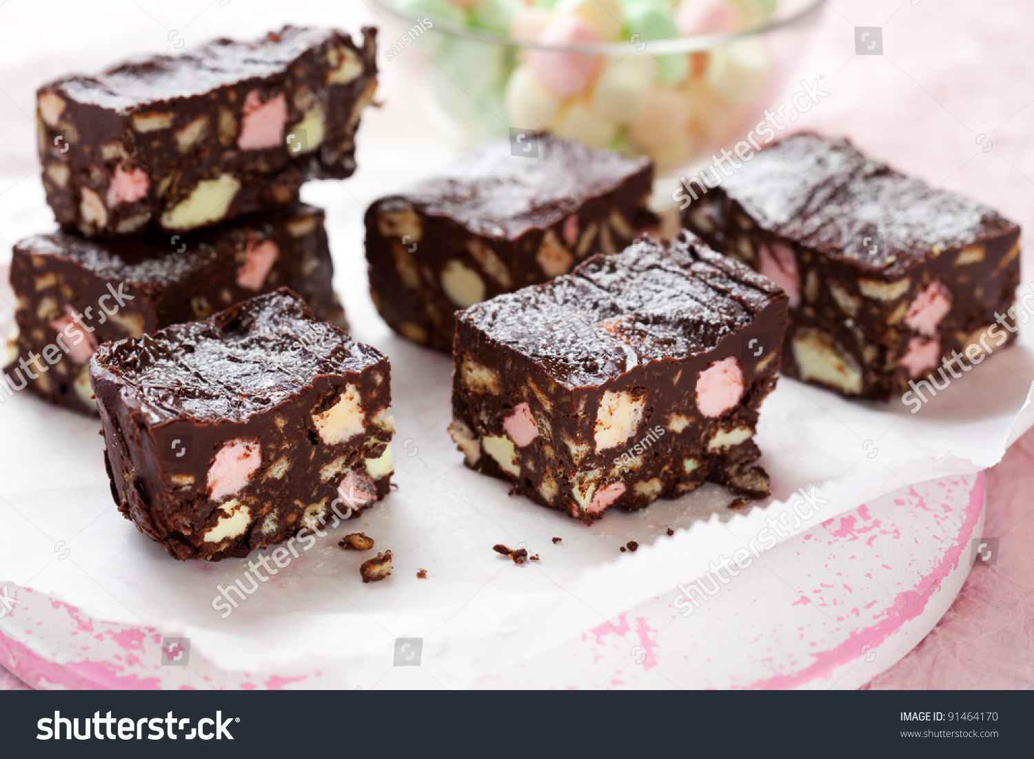 Chocolate Bars With Marshmallows And Biscuit (Rocky Road Cake) Stock ...