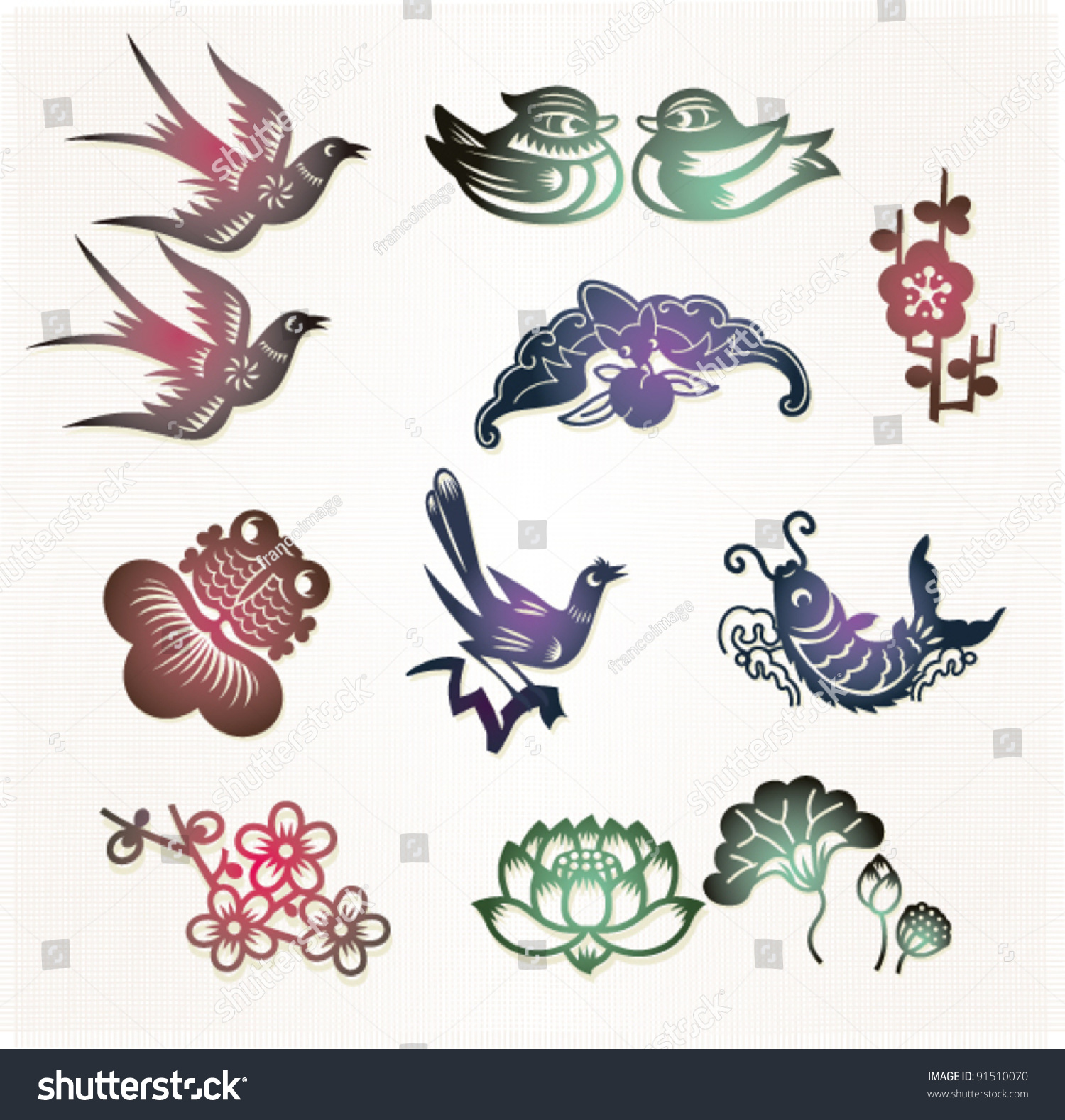Traditional chinese lucky symbols lovebirds mandarin stock vector traditional chinese lucky symbols lovebirds mandarin ducksloyal love bat buycottarizona