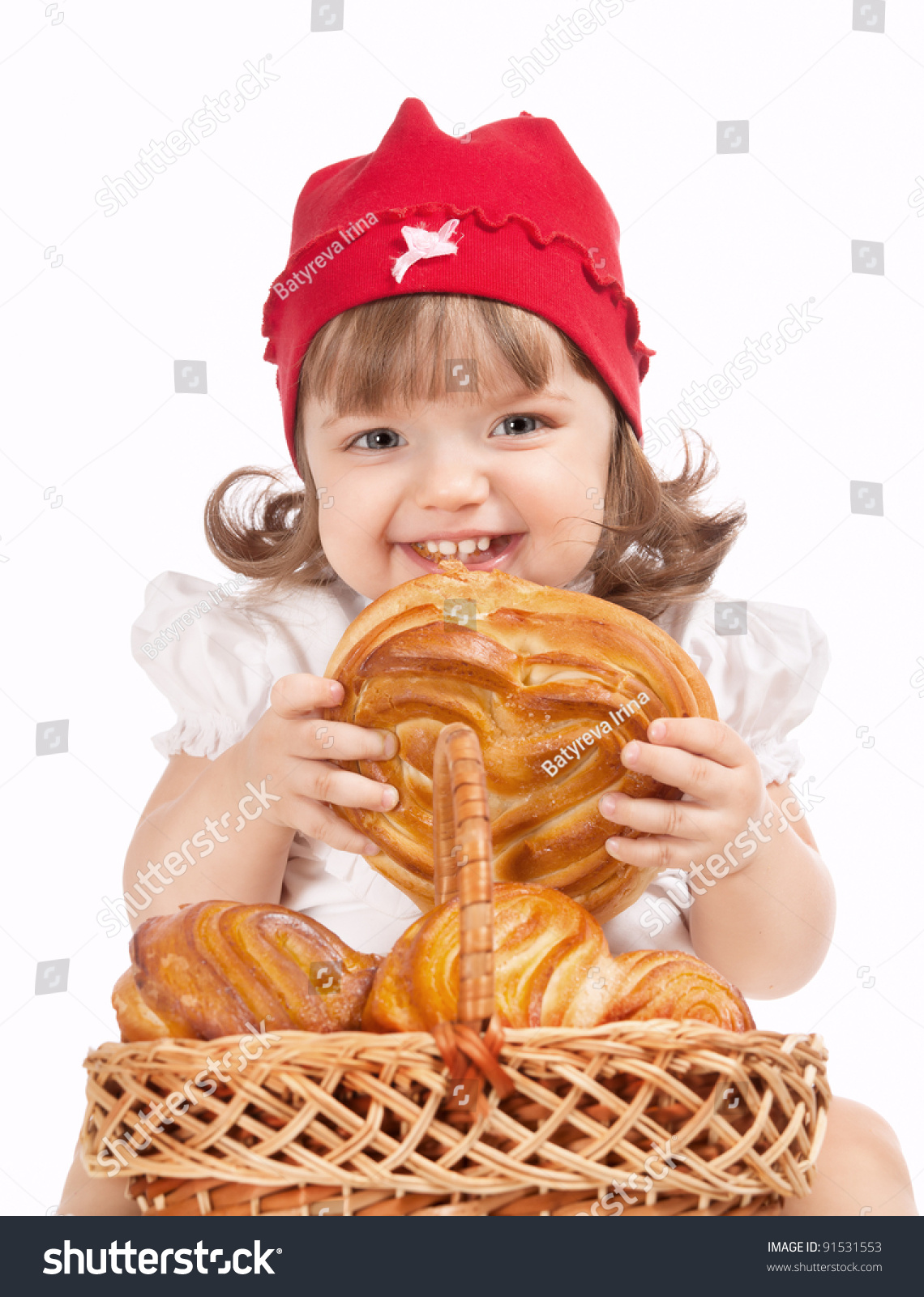 Beautiful Eat In Kitchens: Beautiful Little Baby Cap Eating Loaf Stock Photo 91531553