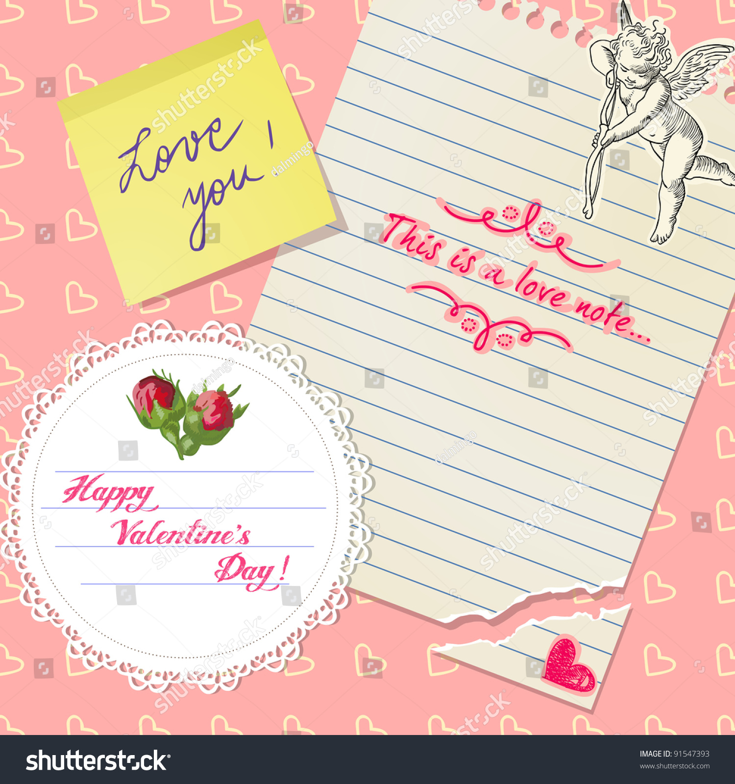 cute valentines day scrapbook with roses love notes and hearts