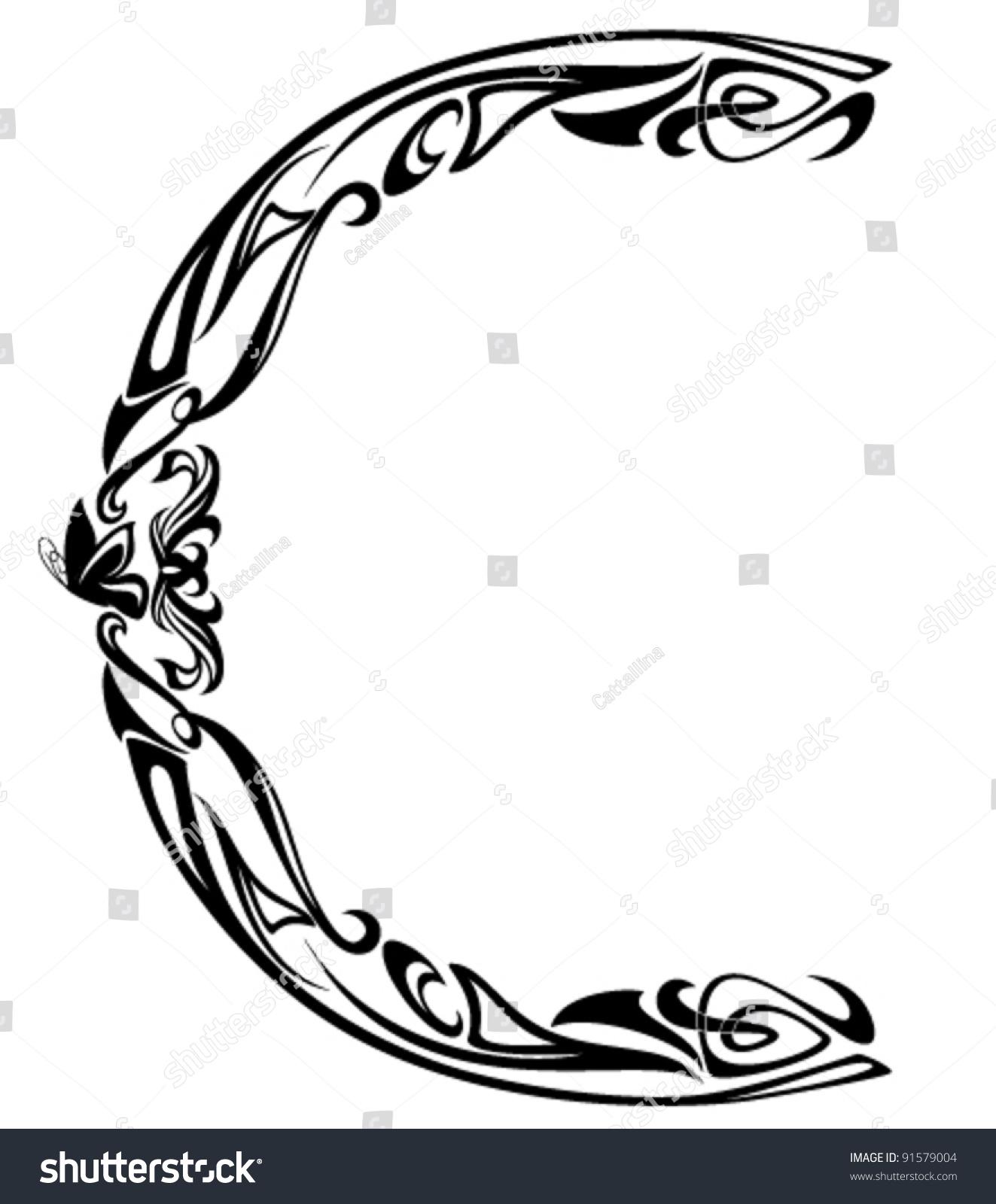 Art Nouveau Style Vintage Font - Letter C