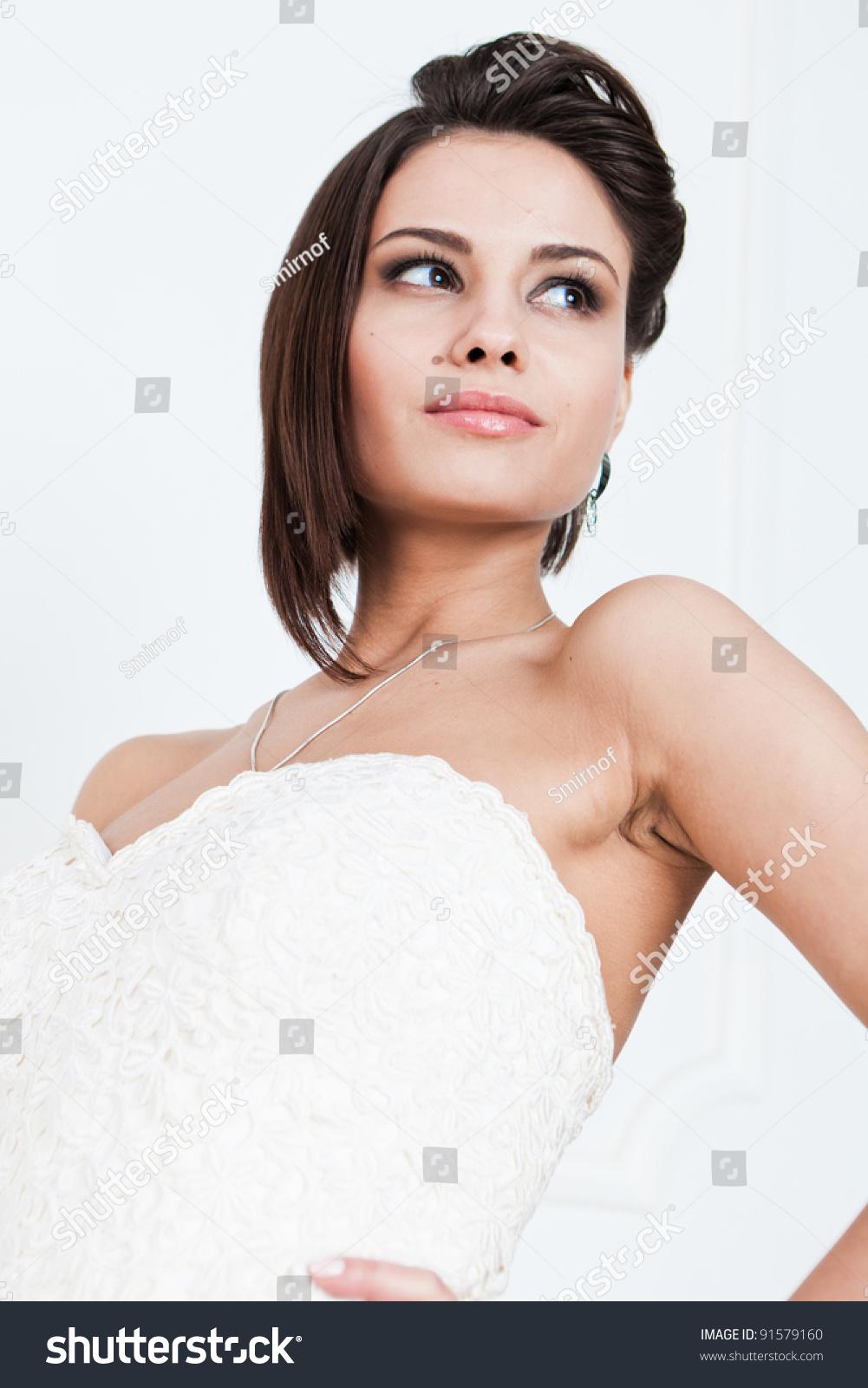 Slim Beautiful Woman Short Hair Wearing Stock Photo 91579160 ...