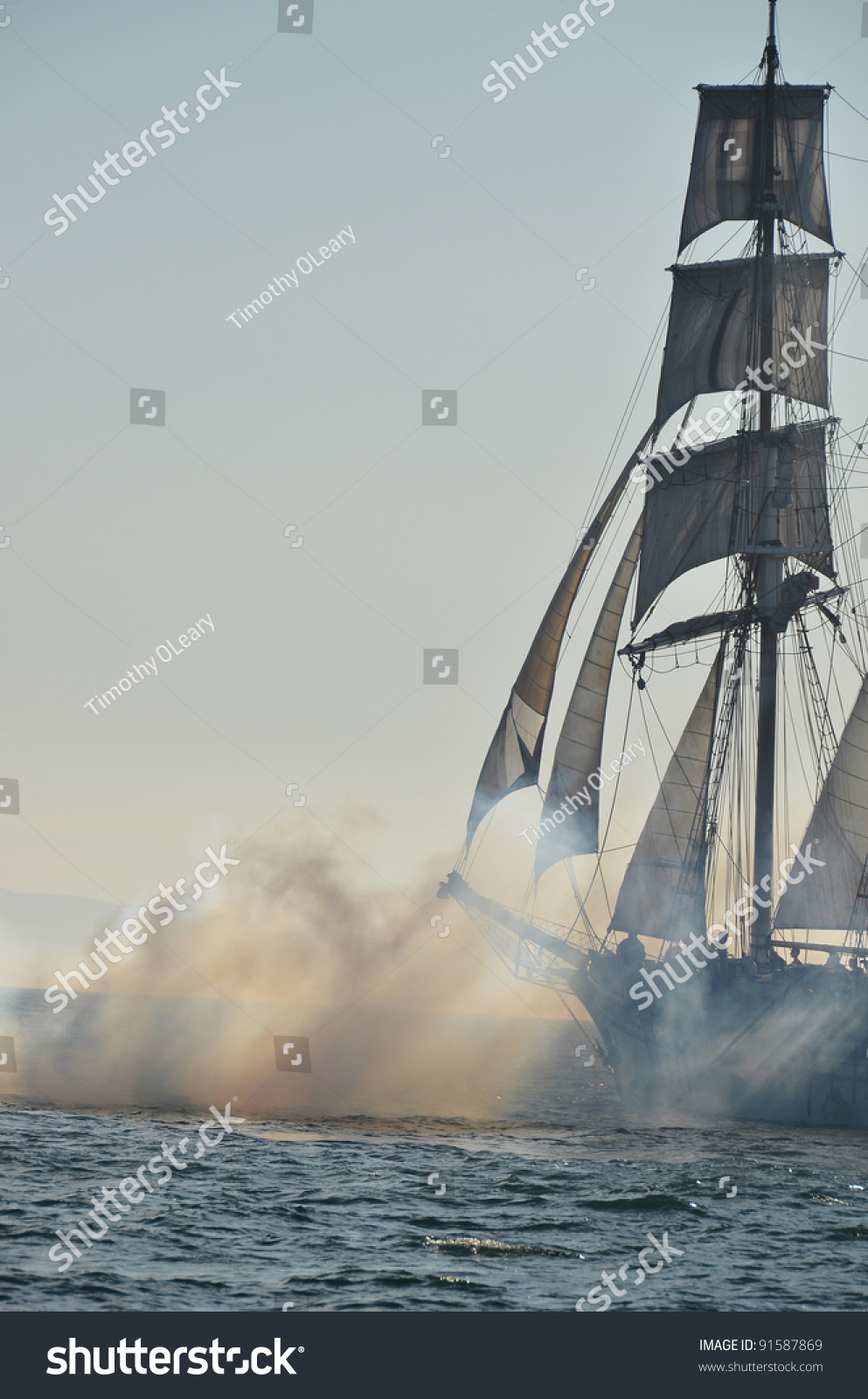 sailing ship fire smoke - photo #1