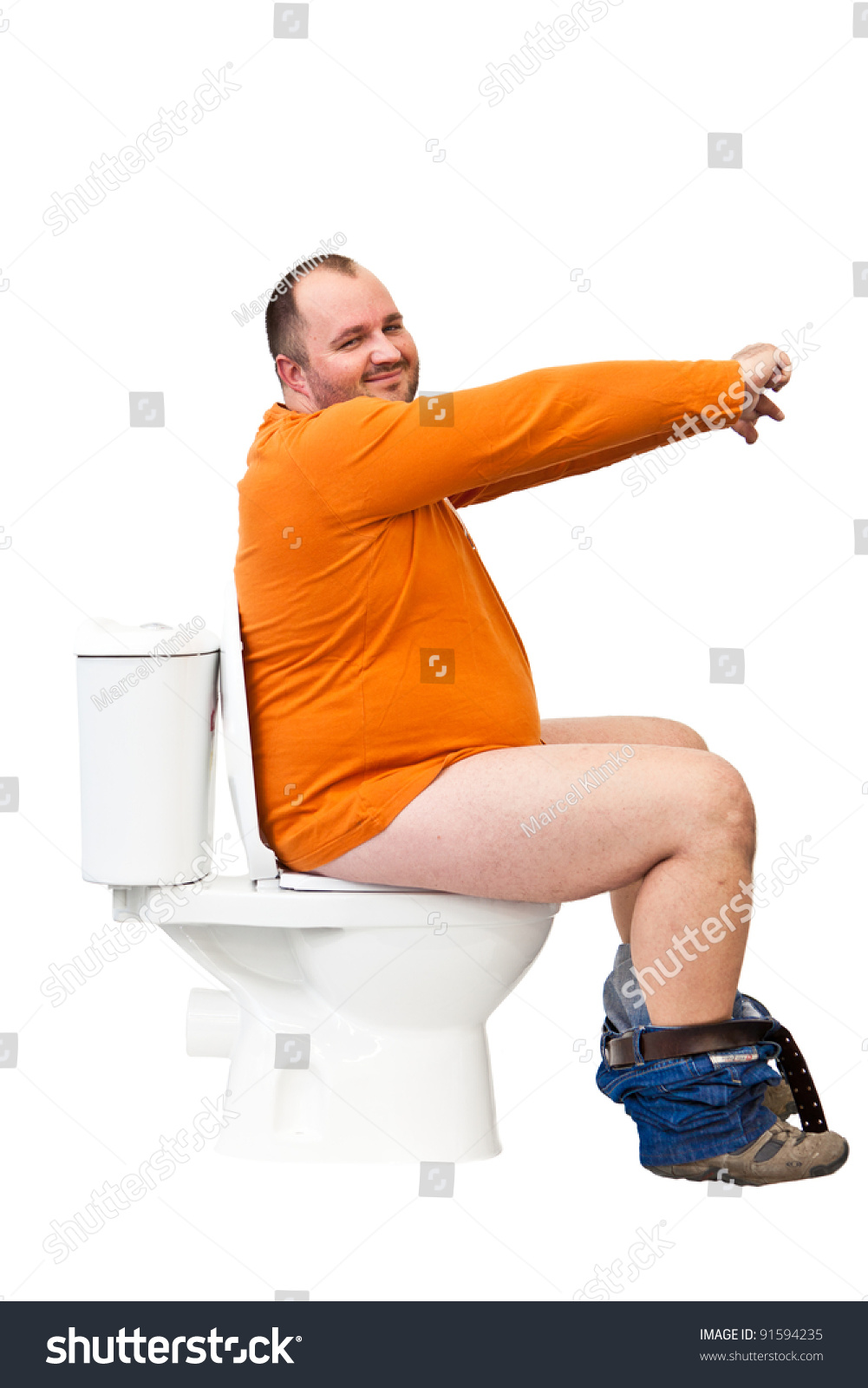 Man Sitting On Toilet Uplifted Hands Stock Photo 91594235 ...