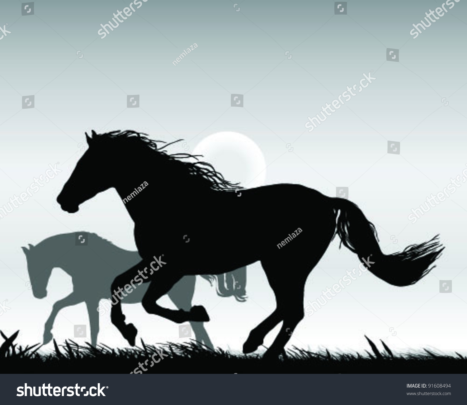 Horse silhouette galloping