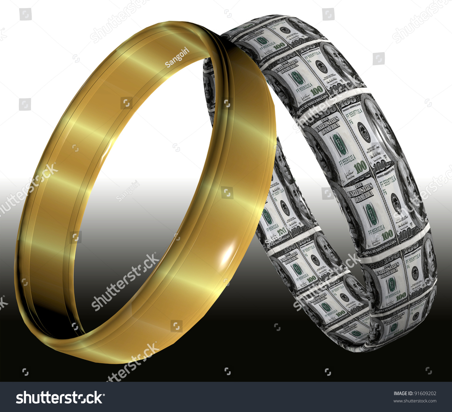 Two Different Wedding Rings Symbolizing Prenuptial Contracts And