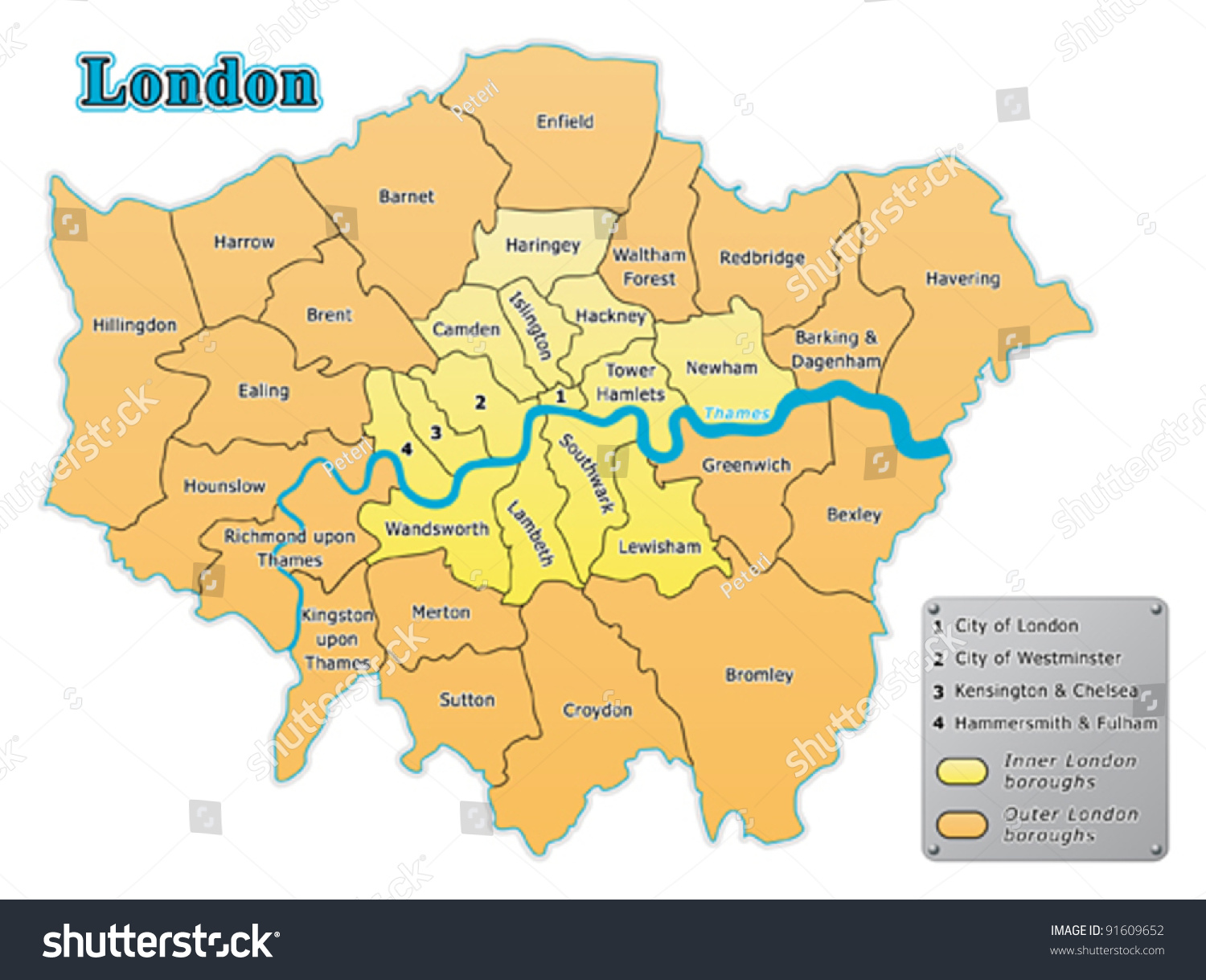 London Map All Boroughs Stock Vector Shutterstock - London map of boroughs
