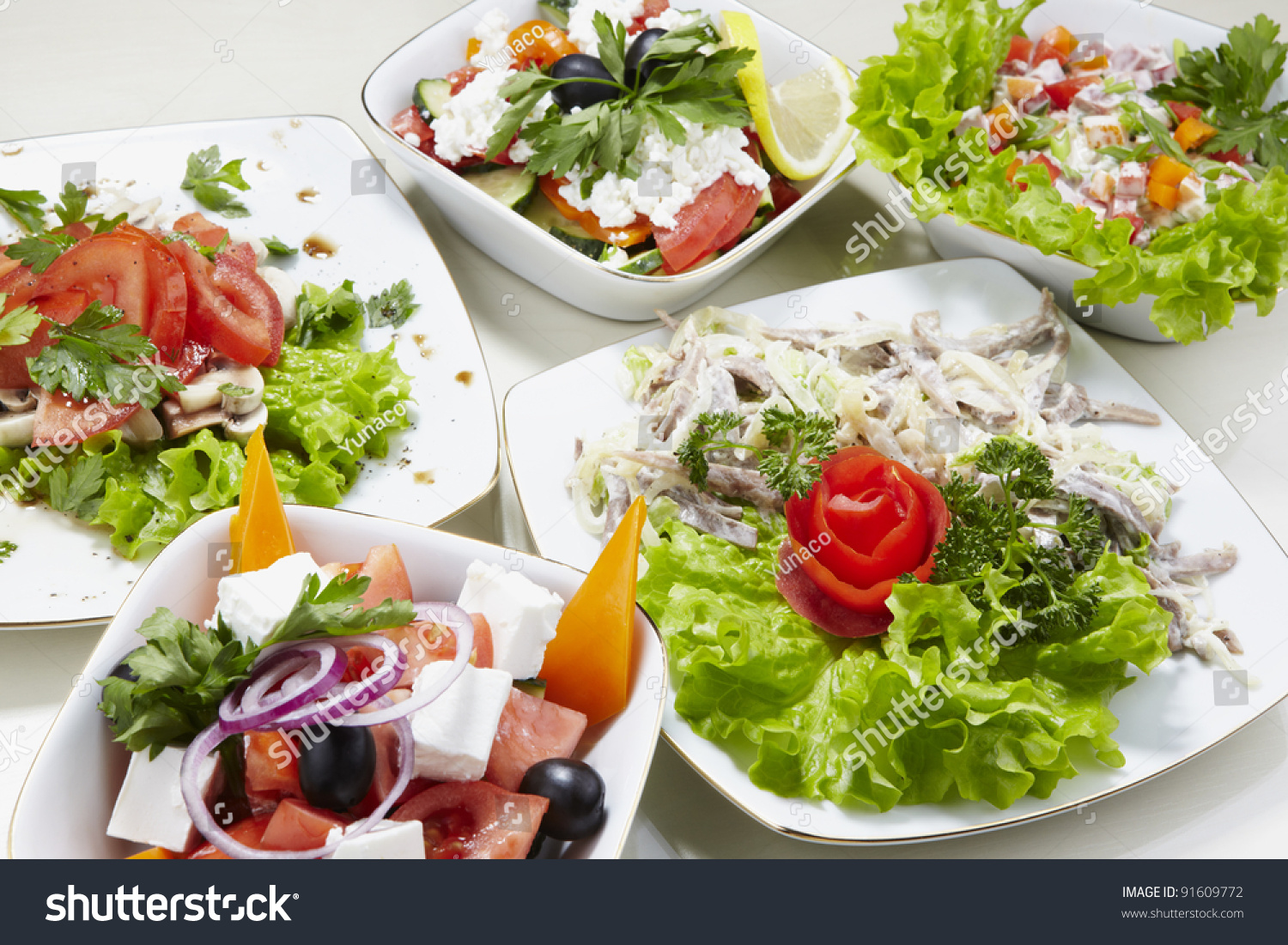 Different Types Vegetable Seafood Salads Stock Photo 91609772 ...