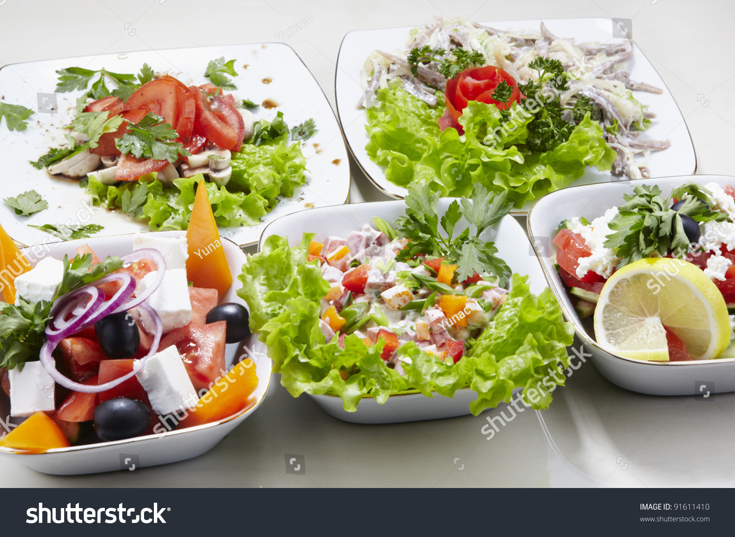 Different Types Vegetable Seafood Salads Stock Photo 91611410 ...