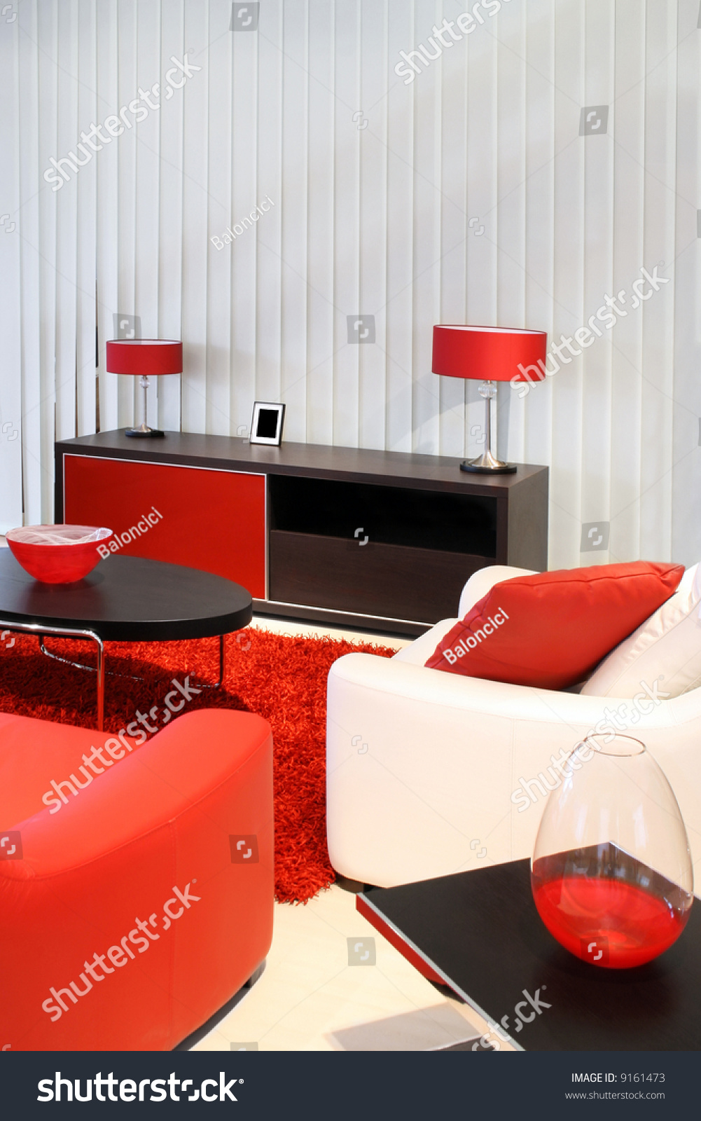 Modern Living Room With Red And Black Furniture Stock Photo 9161473 Shutter