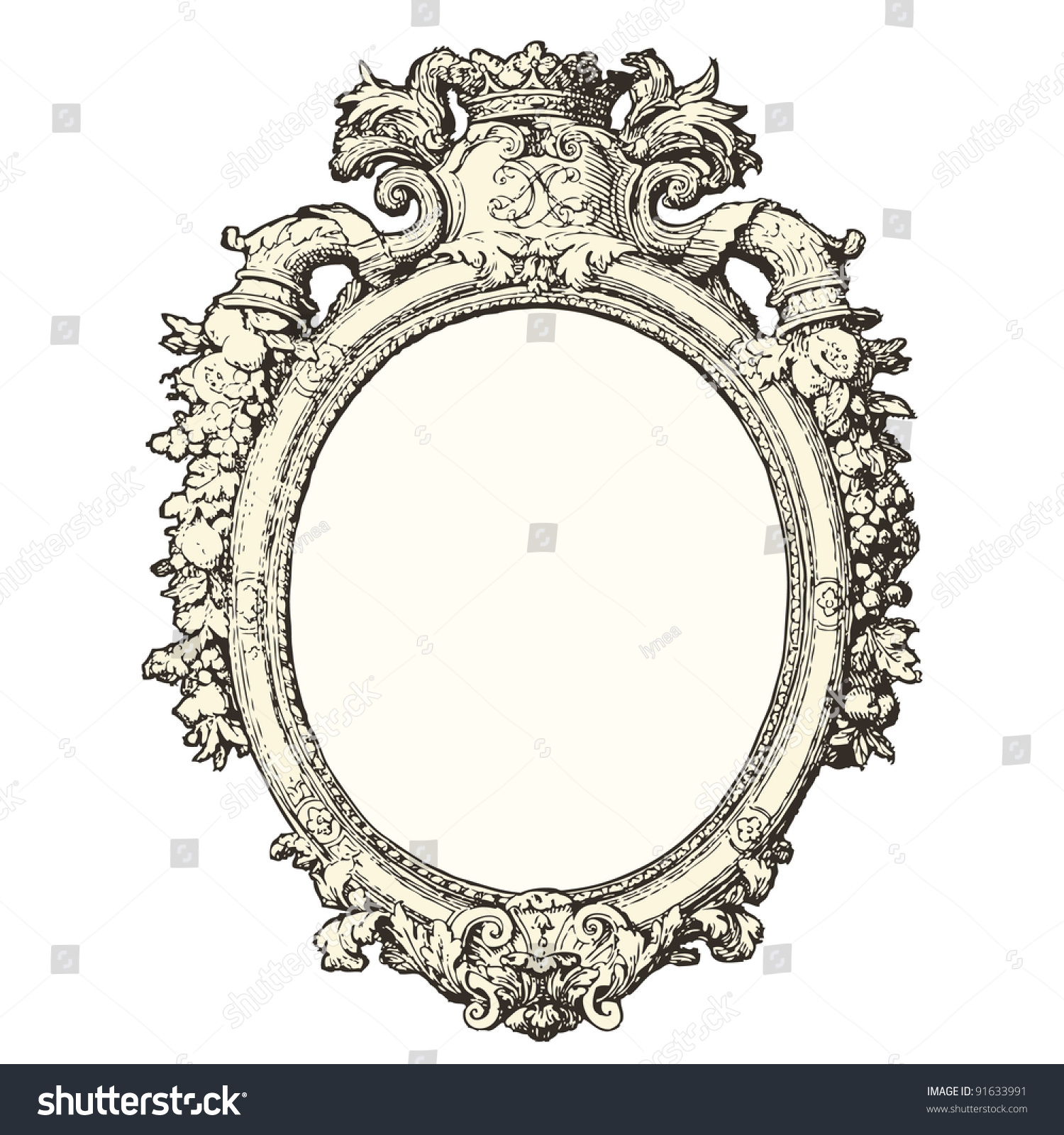 Mirror 17th century style vintage engraved illustration for Mobilier retro