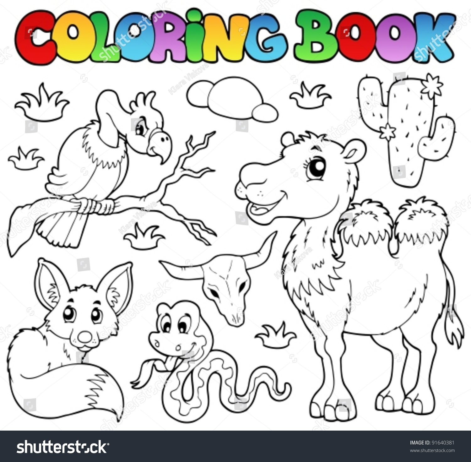 coloring book desert animals 1 vector illustration - Coloring Book Animals