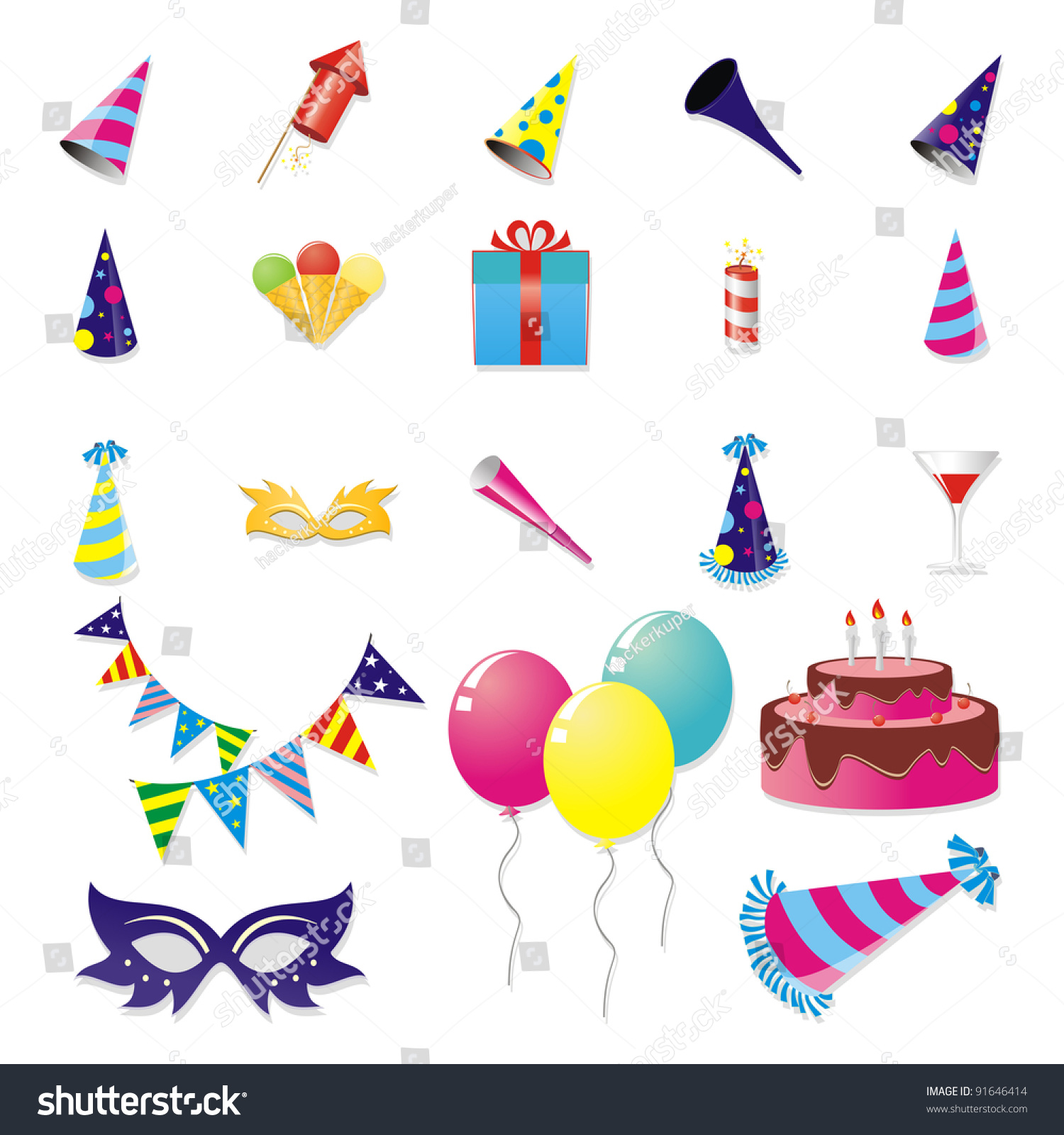 Party Stuff Set Stock Illustration 91646414