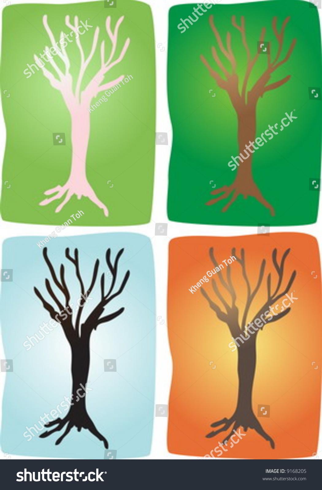 Trees Four Seasons Block Print Color Stock Vector Royalty Free ...