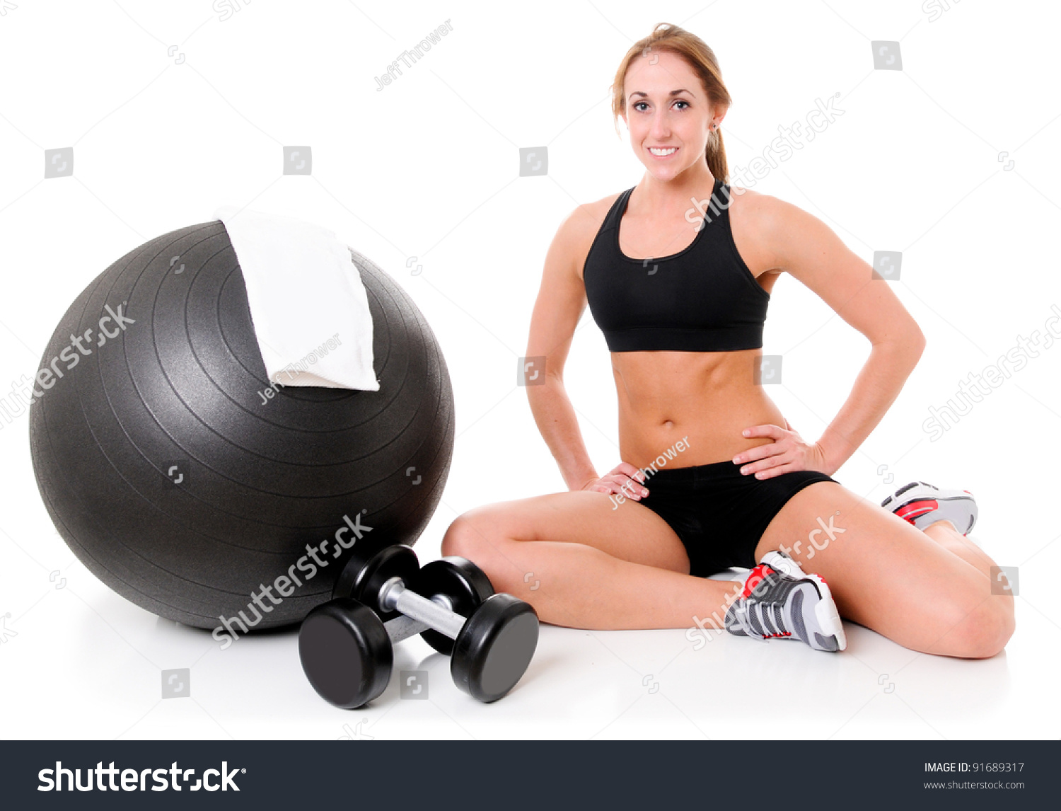 Health And Fitness Woman In Gym Outfit With A Pilates Ball ...