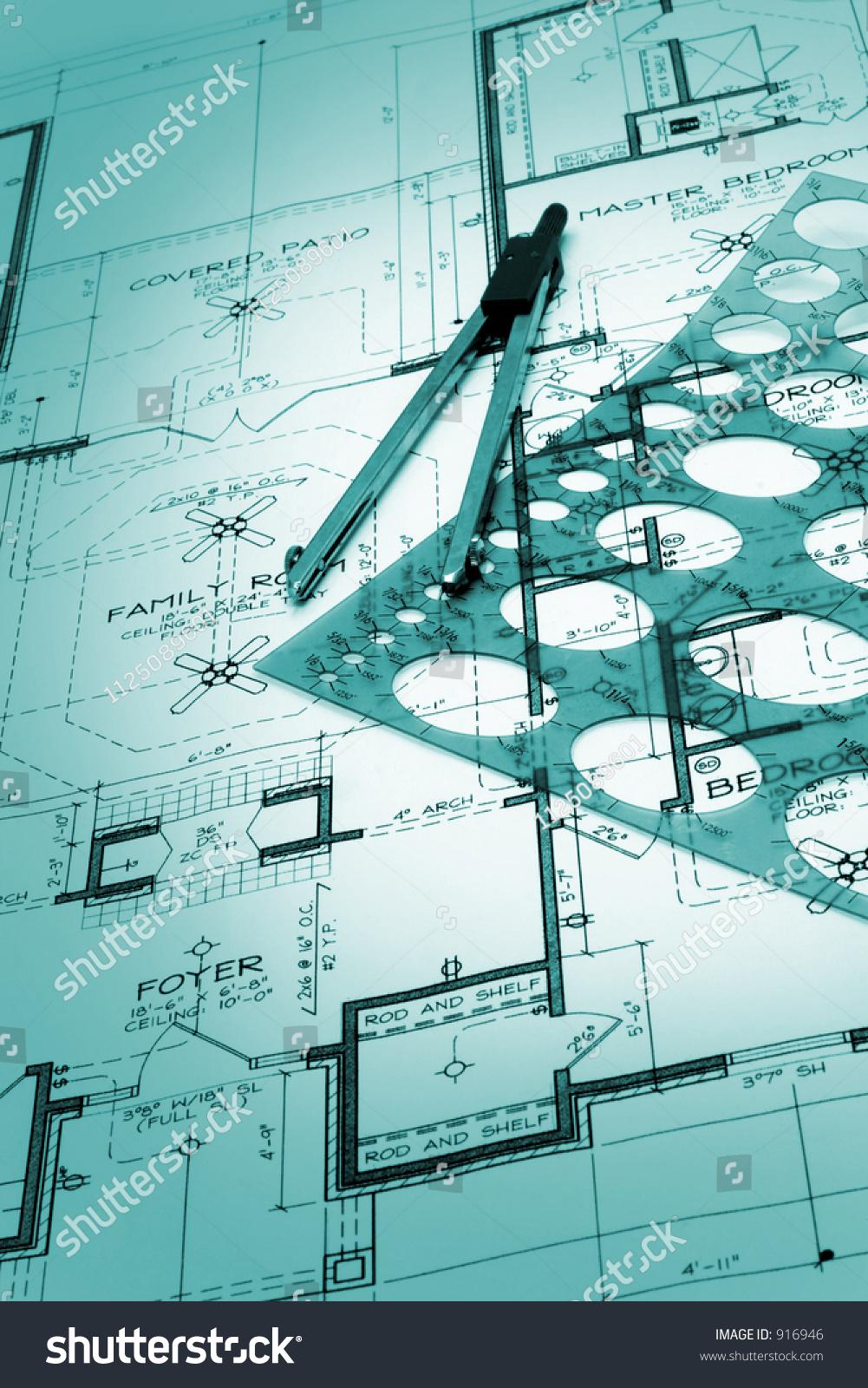 Blueprint house plans stock photo 916946 shutterstock malvernweather Images