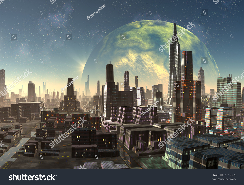 Alien City Fantasy City Skyline On Stock Illustration 91717355