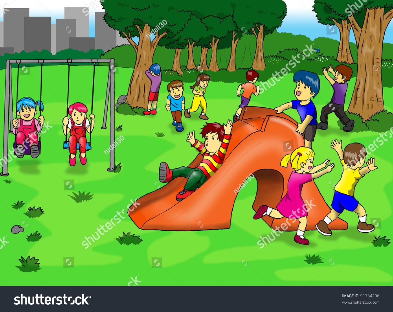Рисунок на тему дети играют на детской площадке 3