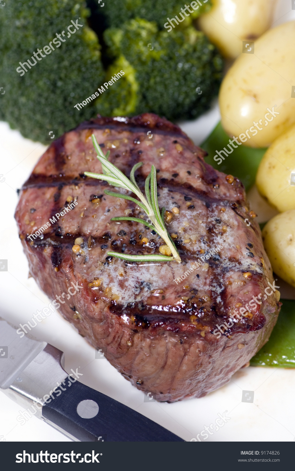 A Grilled Top Sirloin Steak .. Medium With Broccoli And ...