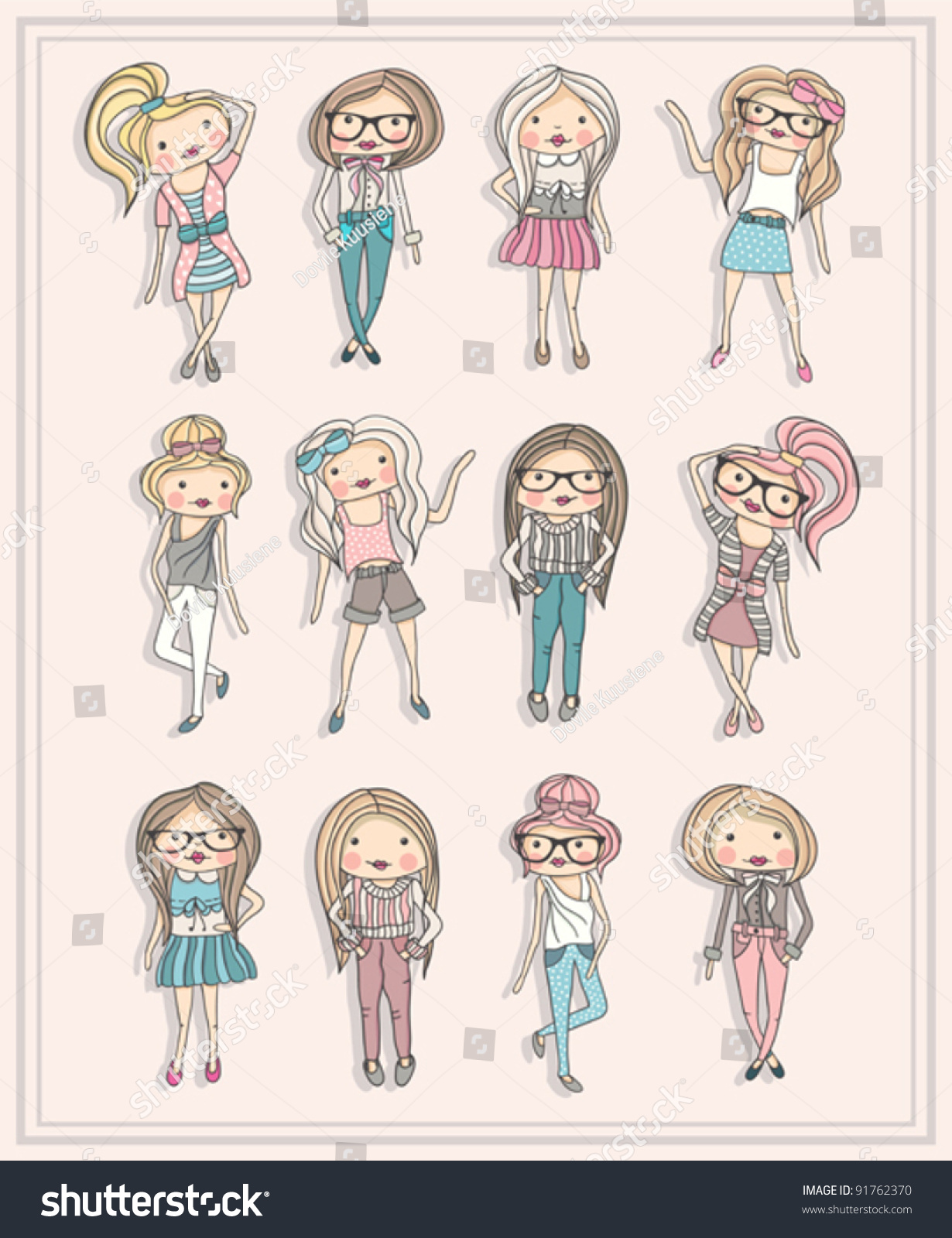Cartoon Girls Fashion Children Set Cute Stock Vector