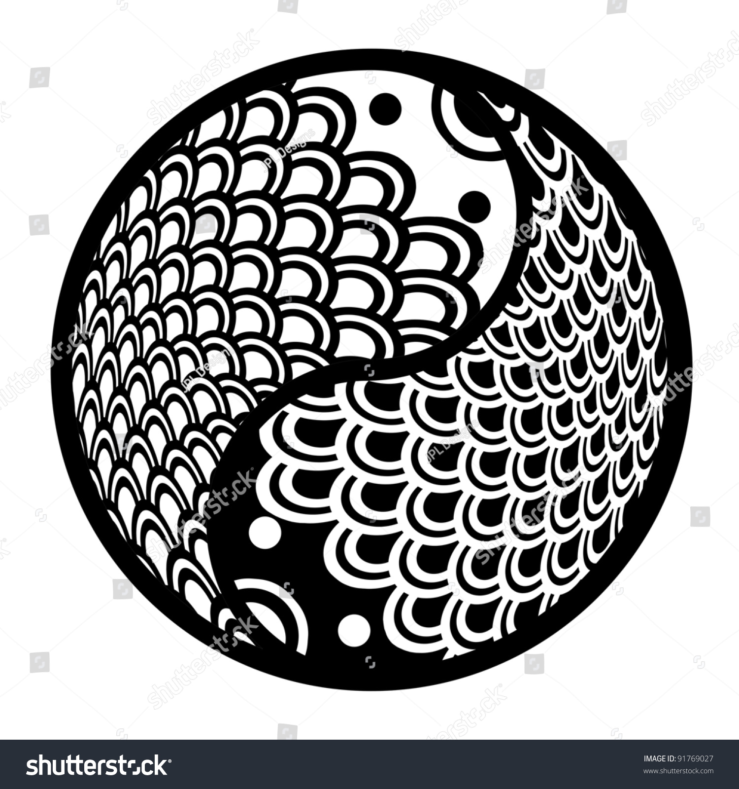 Chinese Pair Fish Yin Yang Eternity Stock Illustration 91769027 ...