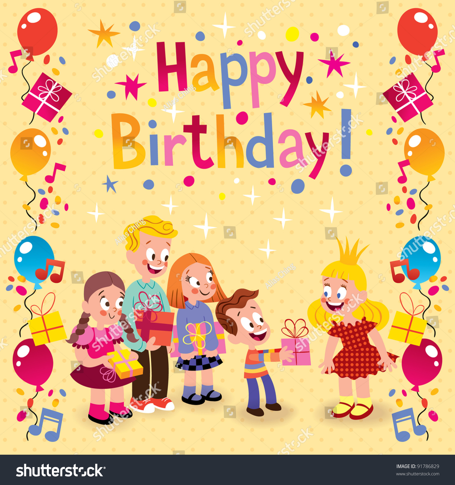 Kids Giving Gifts Birthday Card Stock Vector Shutterstock