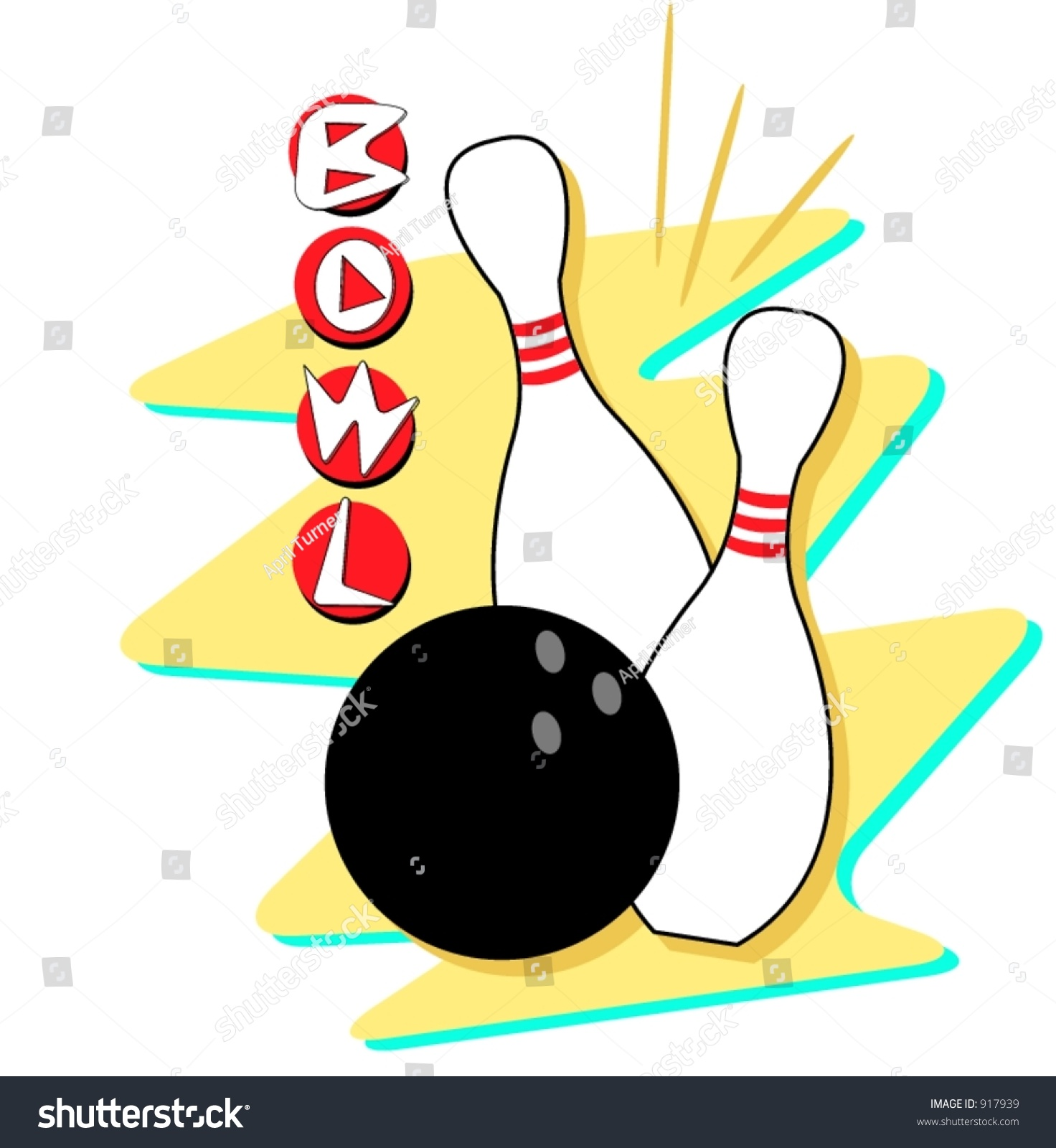 Retro Styled Bowling Clip Art Fully Stock Vector 917939 - Shutterstock