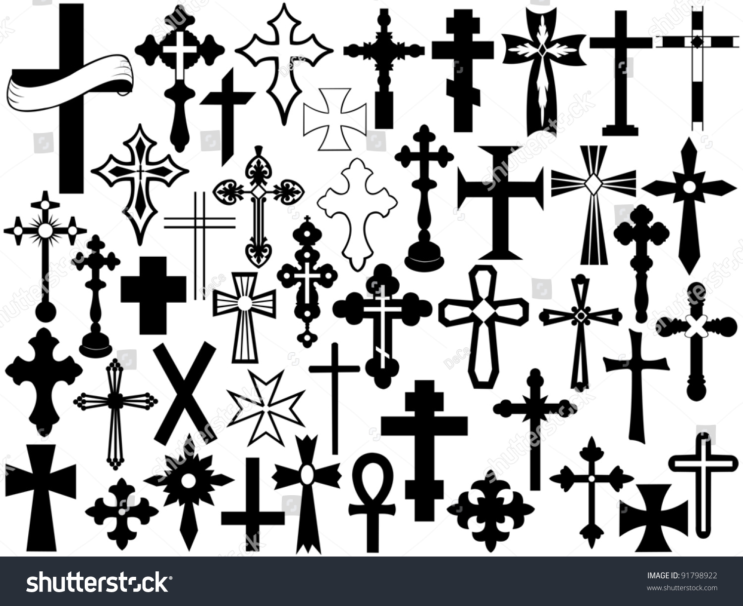 Cross Set Stock Vector Illustration 91798922 : Shutterstock