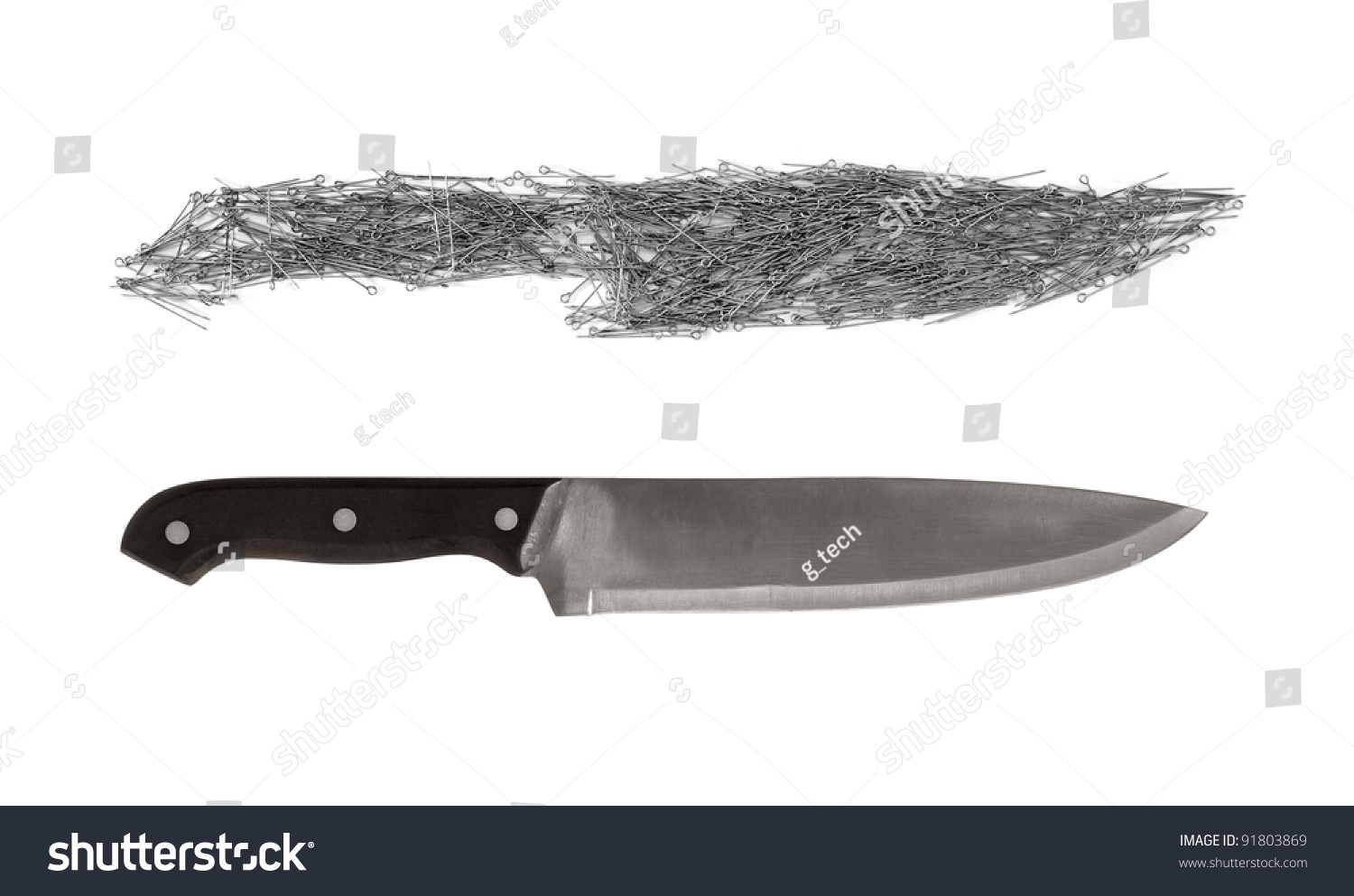 Two Knives Real Kitchen Knife Knife Stock Photo (Royalty Free ...