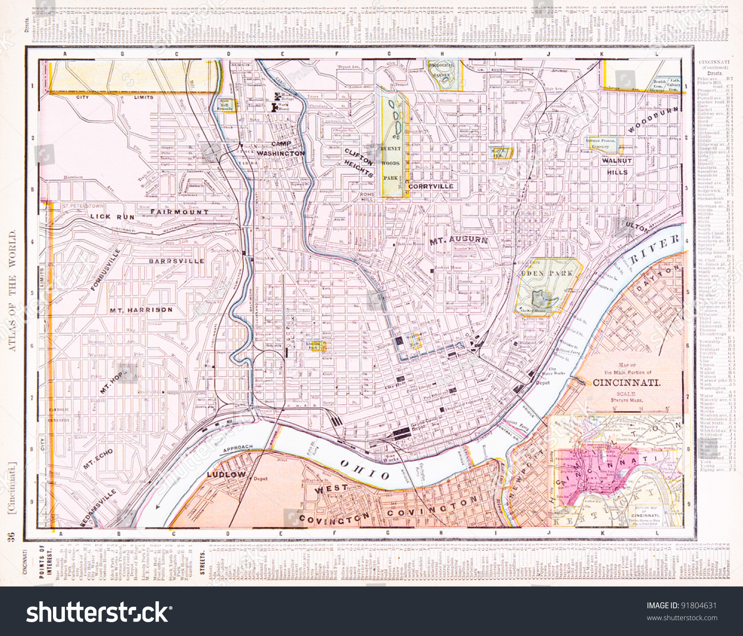 Map Cincinnati Ohio USA Spoffords Atlas Stock Photo (Edit Now ... on