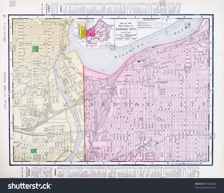 Map Kansas City Kansas Kansas City Stock Photo 91804682 Shutterstock