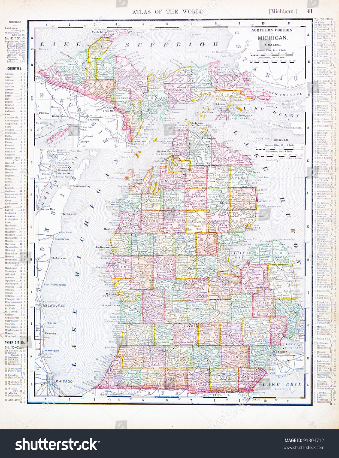 Map michigan usa spoffords atlas world stock photo 91804712 a map of michigan usa from spoffords atlas of the world printed in the gumiabroncs Images
