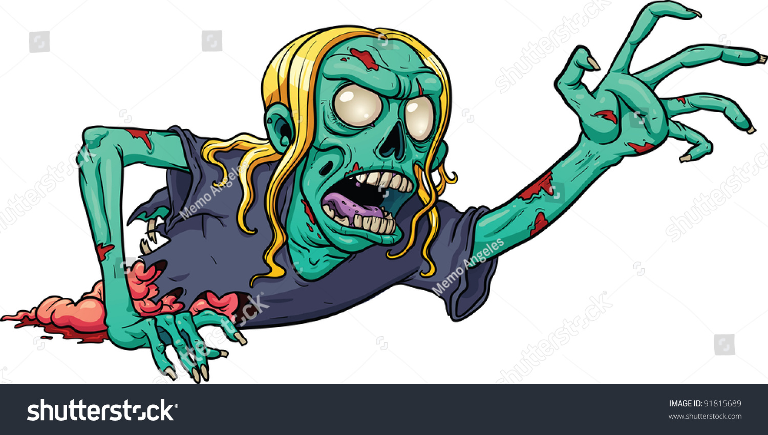 crawling cartoon zombie vector illustration simple stock Scary Halloween Clip Art Zombie Girl Clip Art