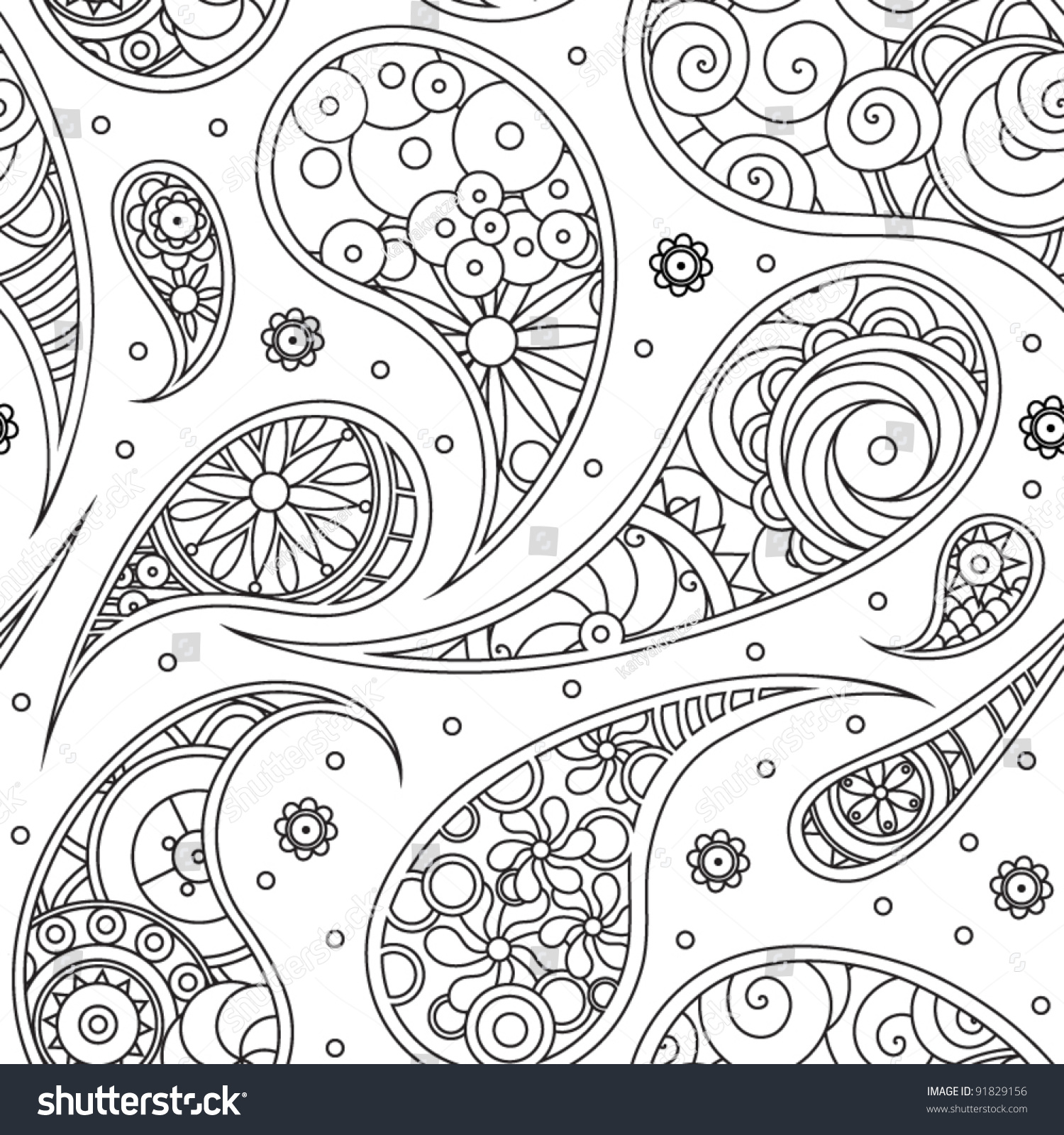 Black And White Paisley Pattern Stock Vector Illustration ...