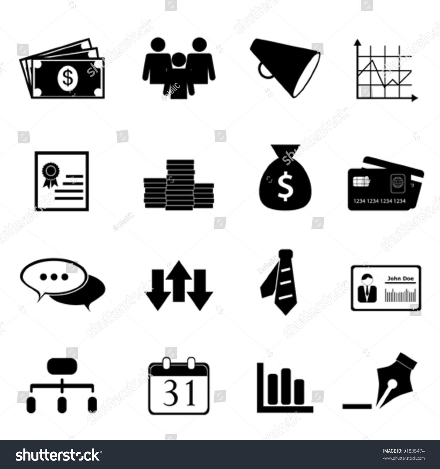 Finance Icon Set: Business Finance Icon Set Black Stock Vector 91835474